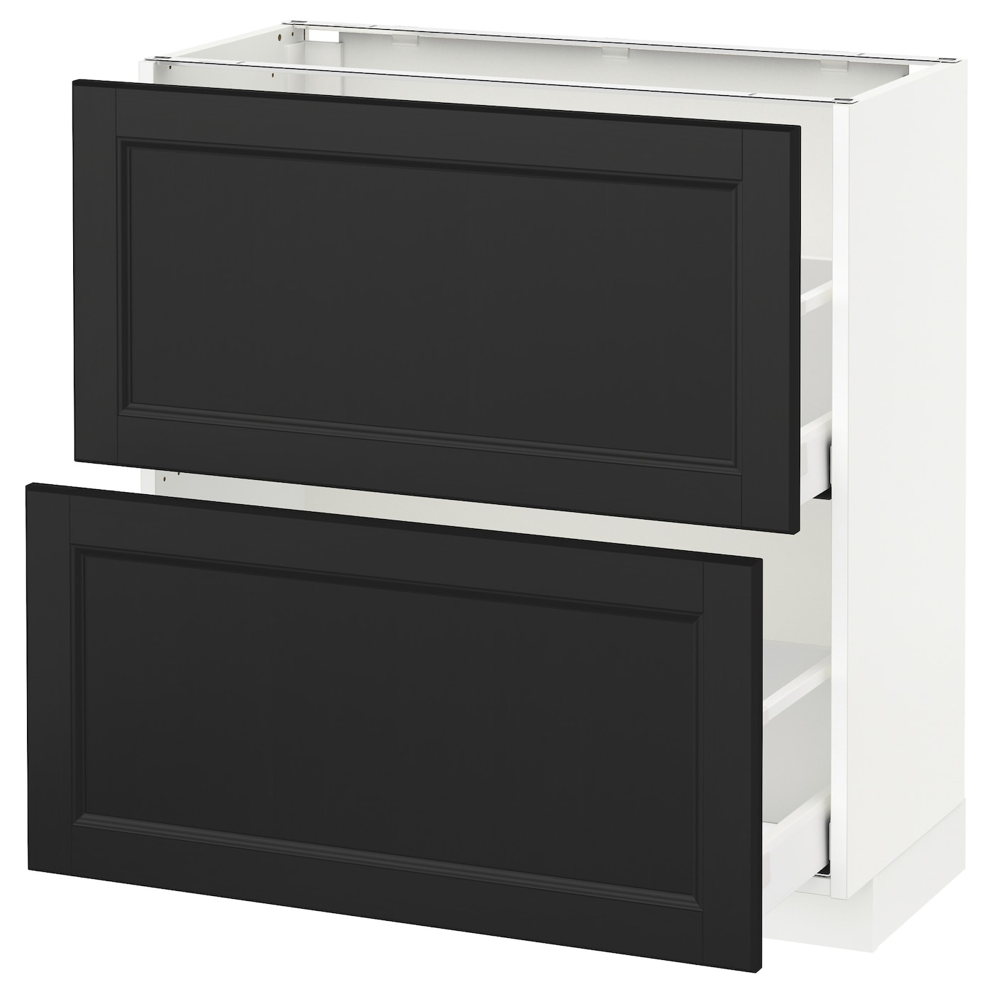 metod maximera base cabinet with 2 drawers white laxarby black brown 80x37 cm ikea. Black Bedroom Furniture Sets. Home Design Ideas