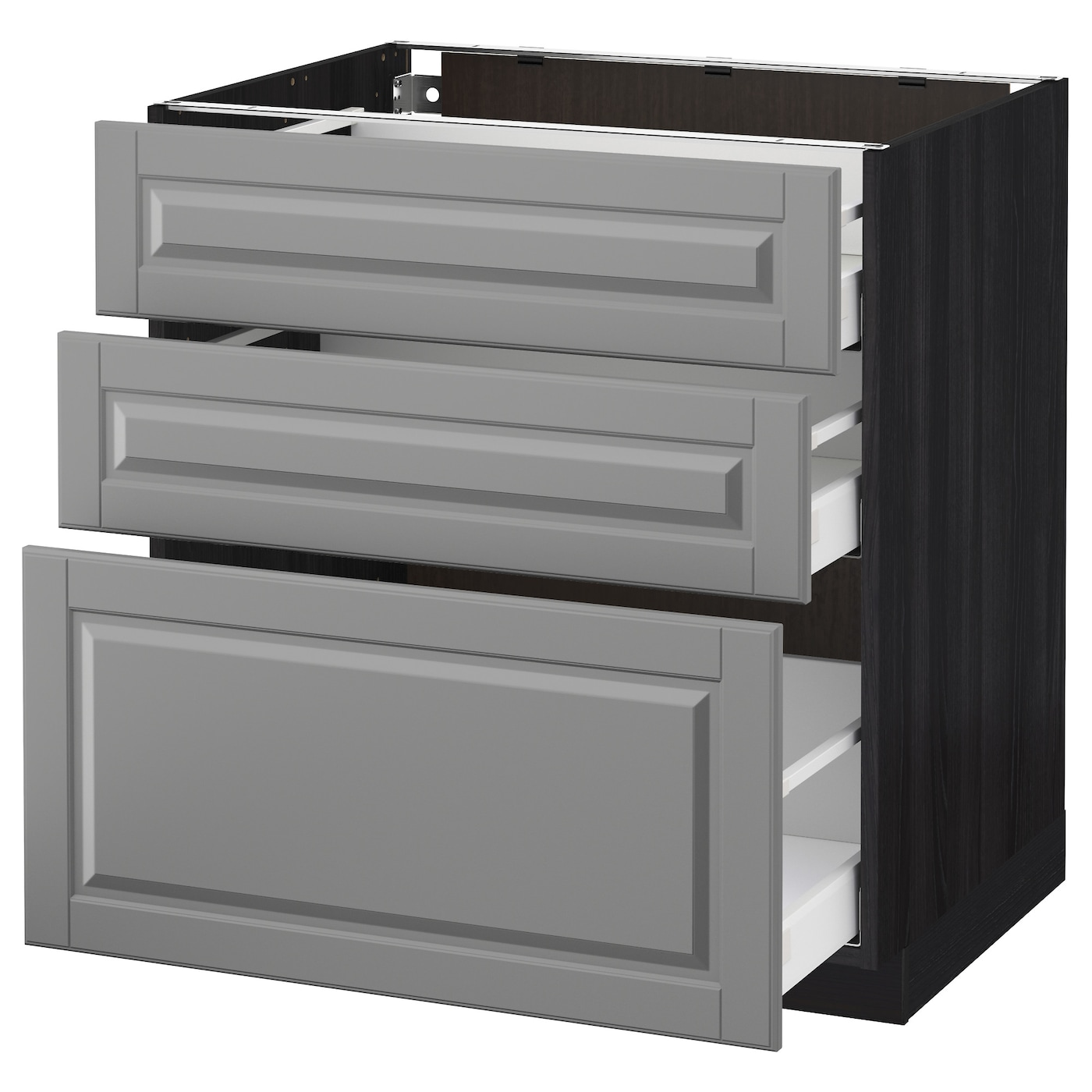 metod maximera base cabinet with 3 drawers black bodbyn grey 80 x 60 cm ikea. Black Bedroom Furniture Sets. Home Design Ideas