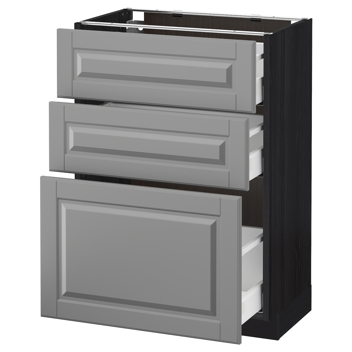 metod maximera base cabinet with 3 drawers black bodbyn grey 60 x 37 cm ikea. Black Bedroom Furniture Sets. Home Design Ideas
