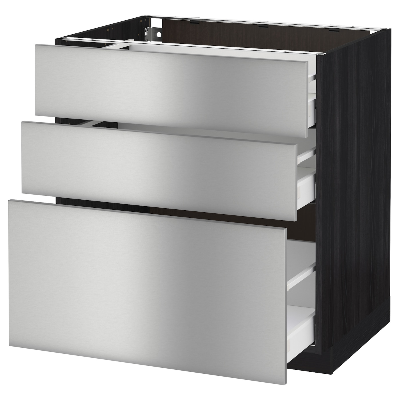 Metod maximera base cabinet with 3 drawers black grevsta for Stainless steel kitchen base cabinets