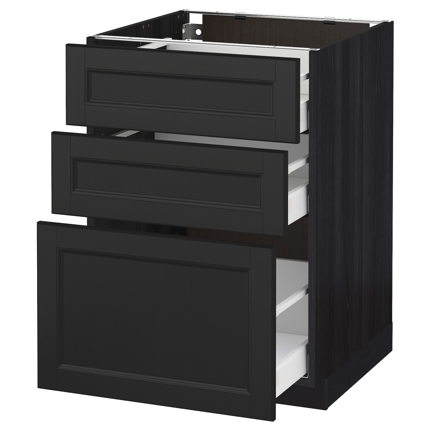 Metod maximera base cabinet with 3 drawers black laxarby for Kitchen cabinets and drawers