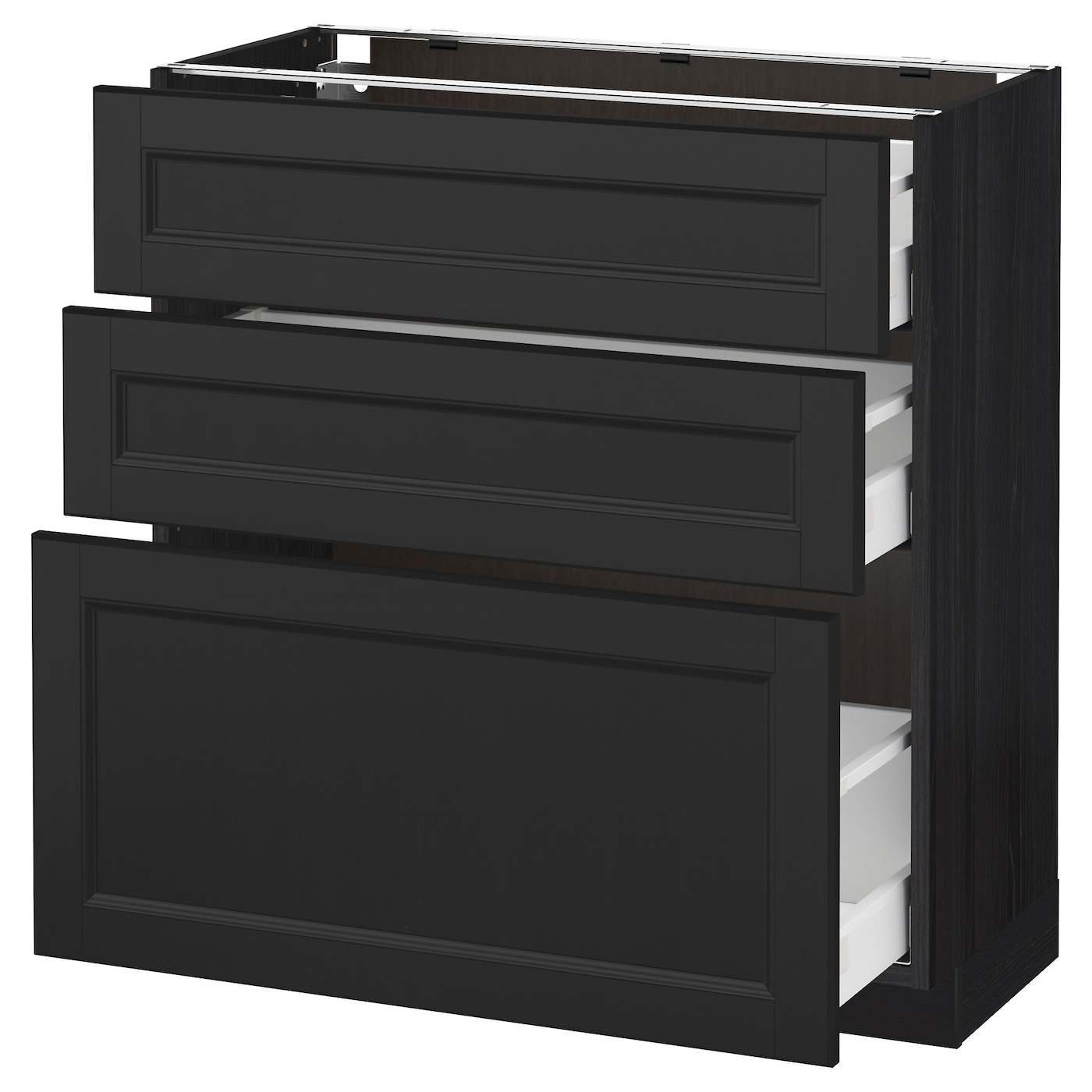 metod maximera base cabinet with 3 drawers black laxarby black brown 80x37 cm ikea. Black Bedroom Furniture Sets. Home Design Ideas