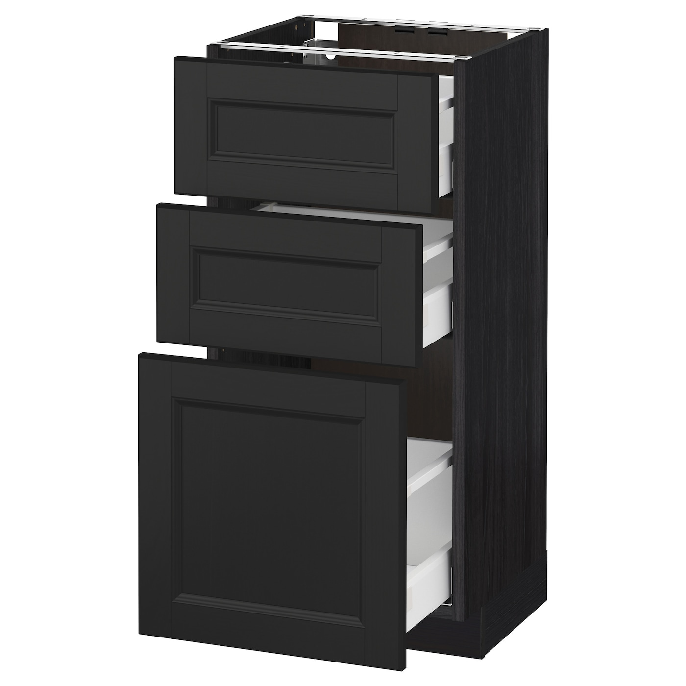 METOD/MAXIMERA Base Cabinet With 3 Drawers Black/laxarby Black-brown 40x37 Cm