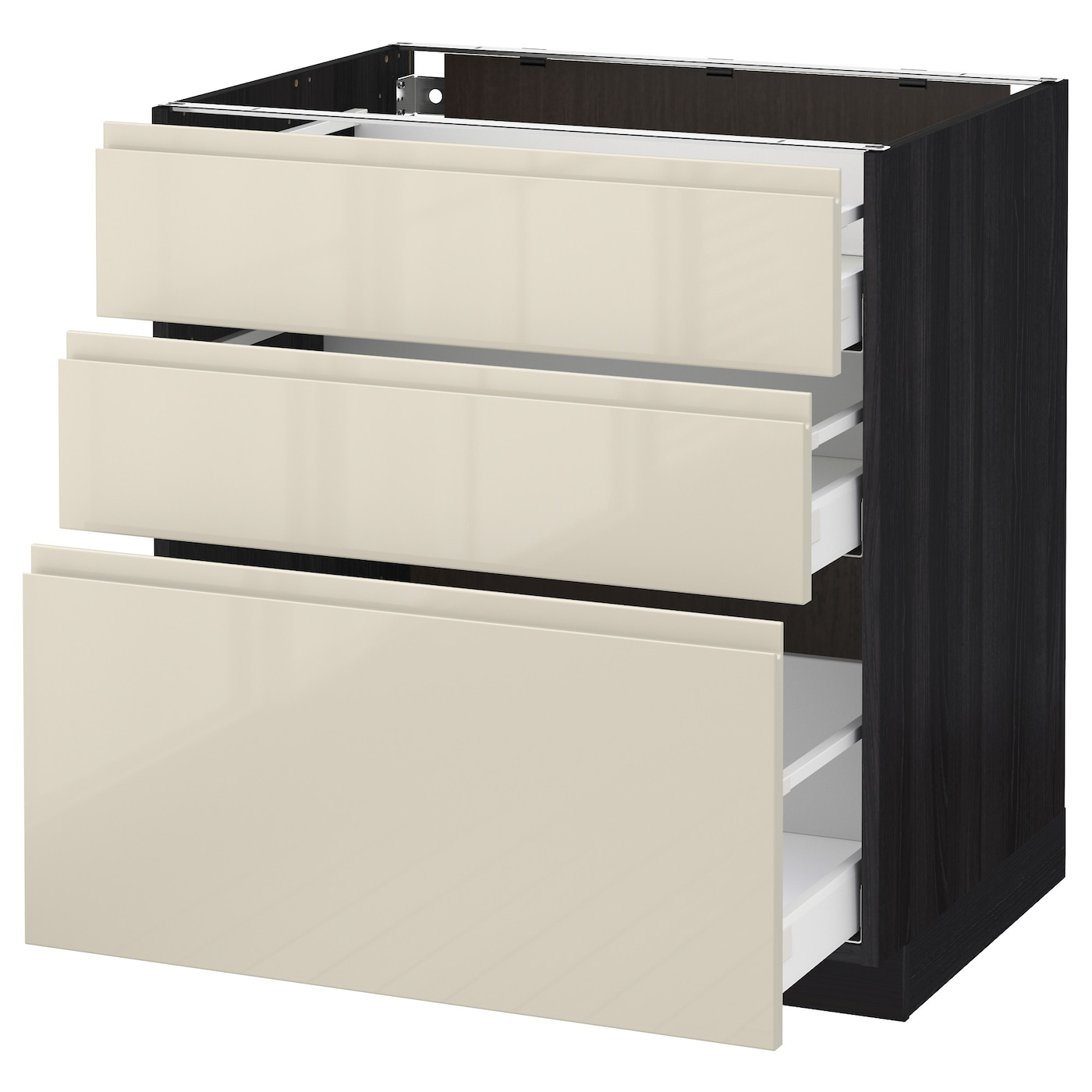 metod maximera base cabinet with 3 drawers black voxtorp high gloss light beige 80 x 60 cm ikea. Black Bedroom Furniture Sets. Home Design Ideas