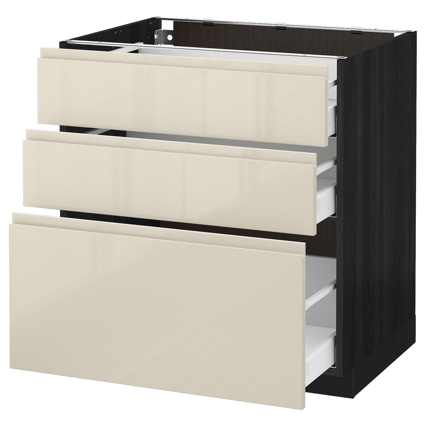 metod maximera base cabinet with 3 drawers black voxtorp high gloss light beige 80 x 60 cm ikea. Black Bedroom Furniture Sets. Home Design Ideas