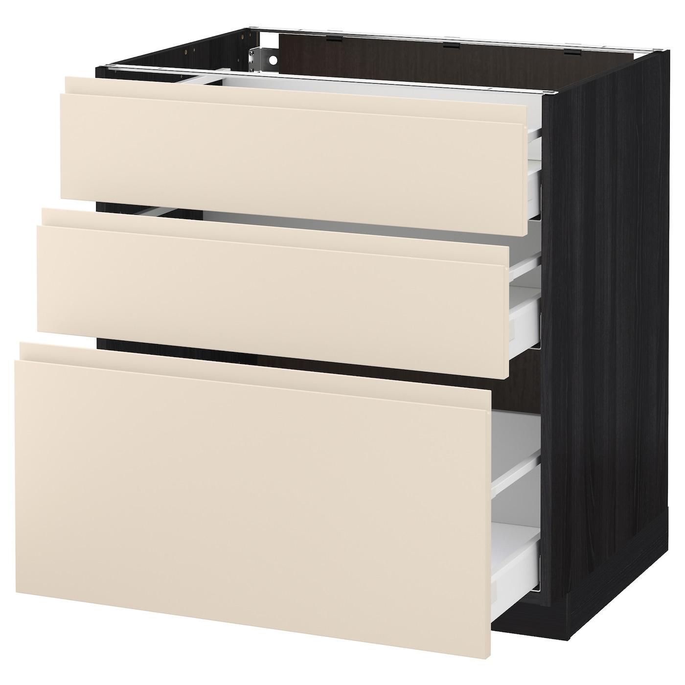 metod maximera base cabinet with 3 drawers black voxtorp light beige 80x60 cm ikea. Black Bedroom Furniture Sets. Home Design Ideas