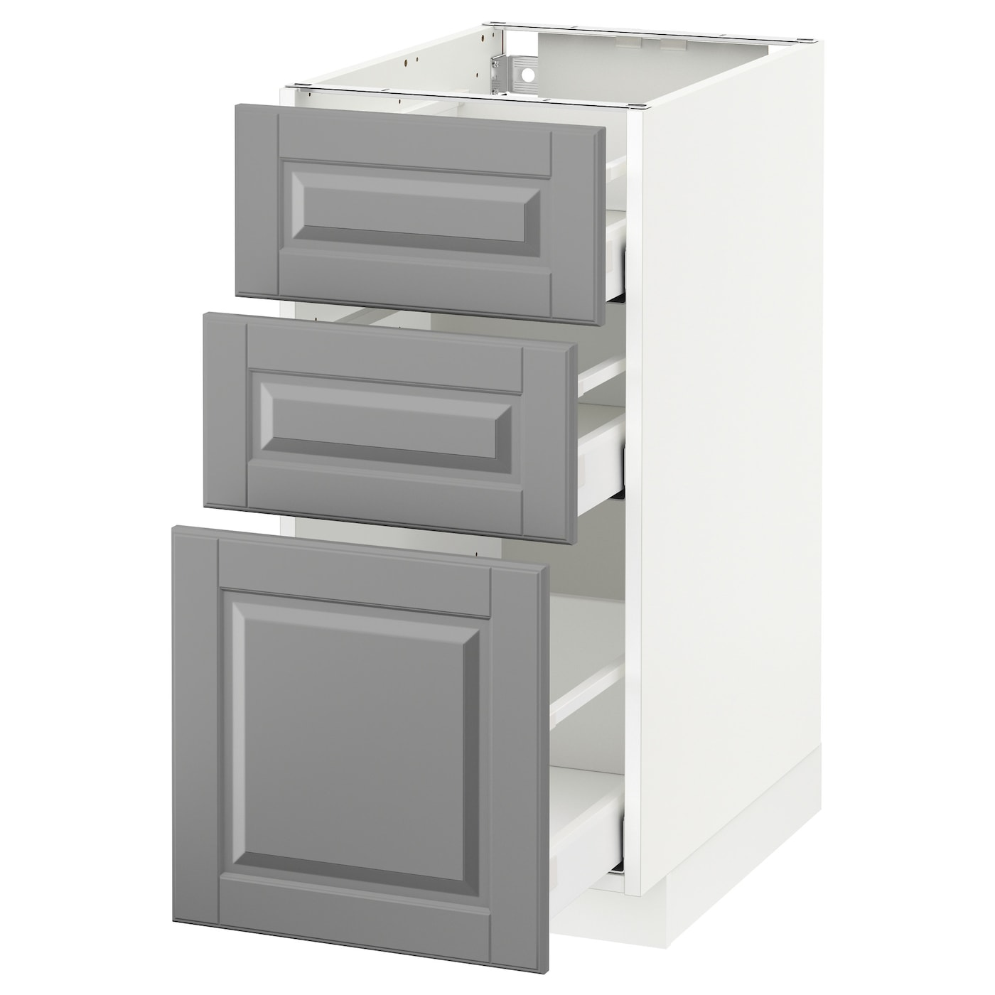 Metod maximera base cabinet with 3 drawers white bodbyn for Kitchen cabinets and drawers