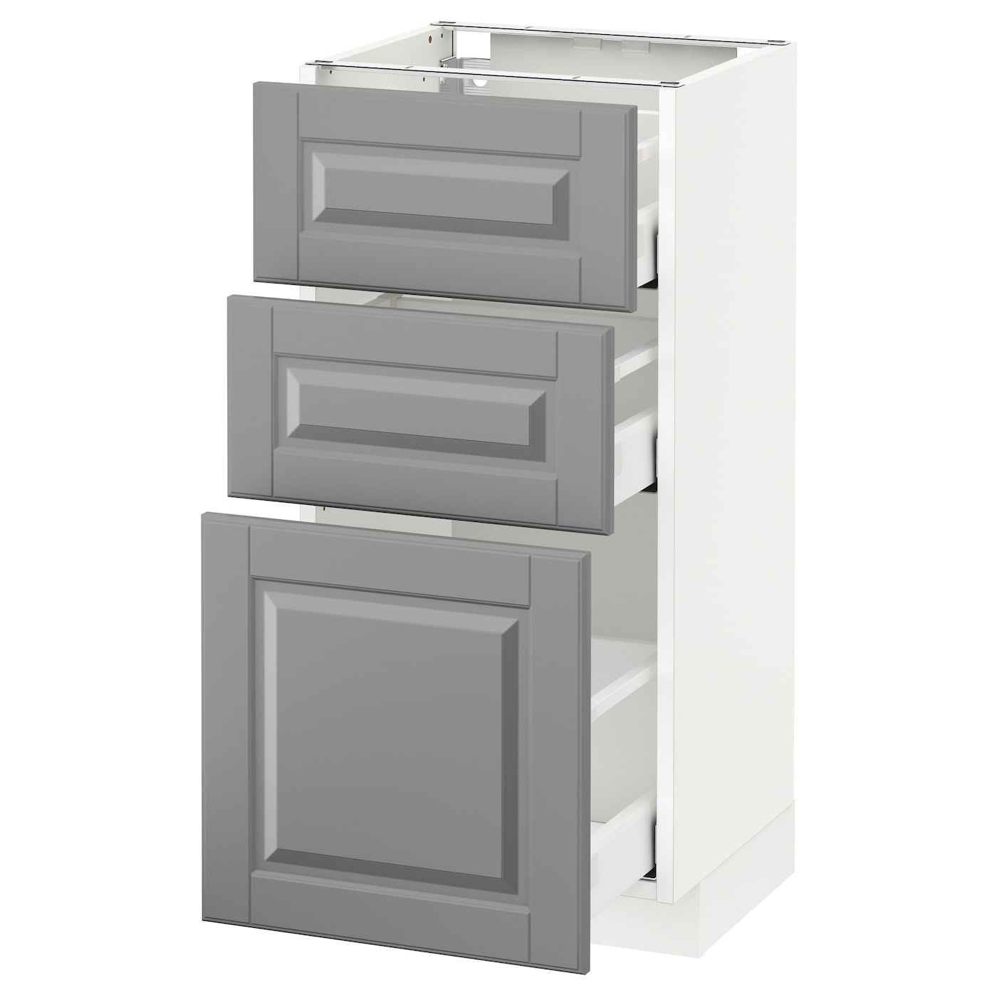 metod maximera base cabinet with 3 drawers white bodbyn grey 40 x 37 cm ikea. Black Bedroom Furniture Sets. Home Design Ideas