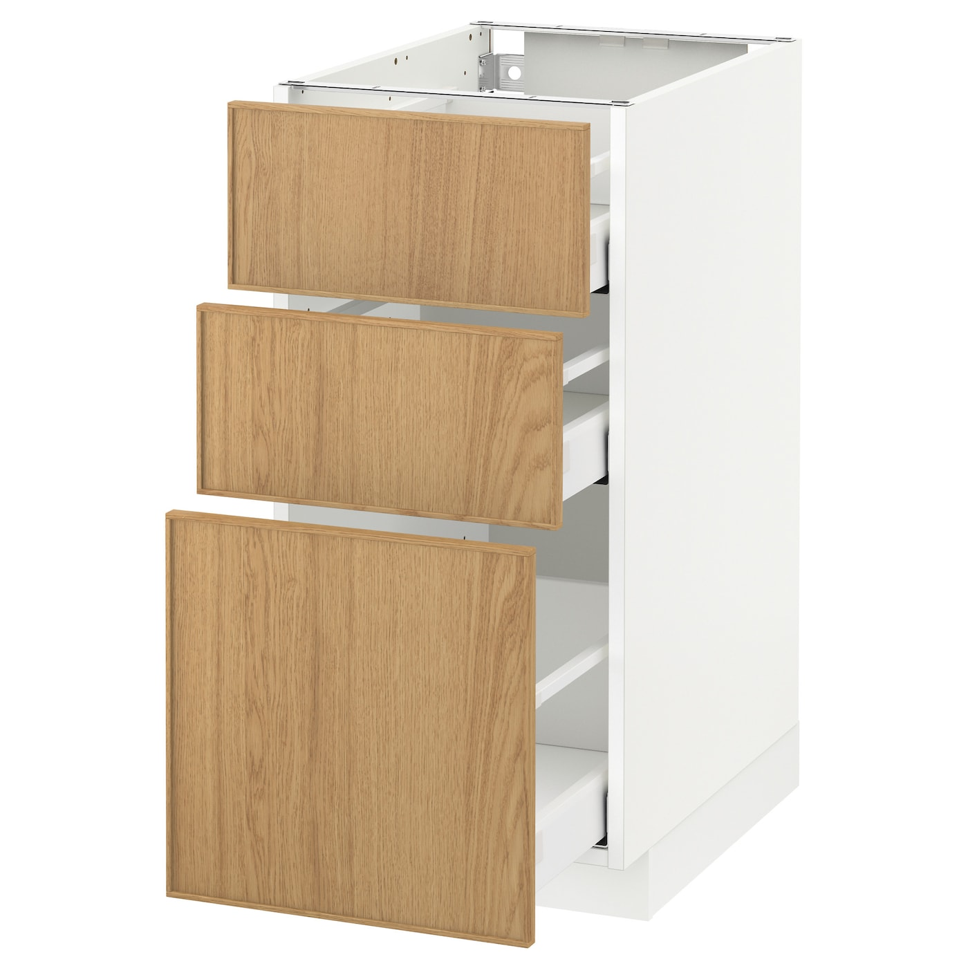 Metod maximera base cabinet with 3 drawers white ekestad for White oak cabinets kitchen
