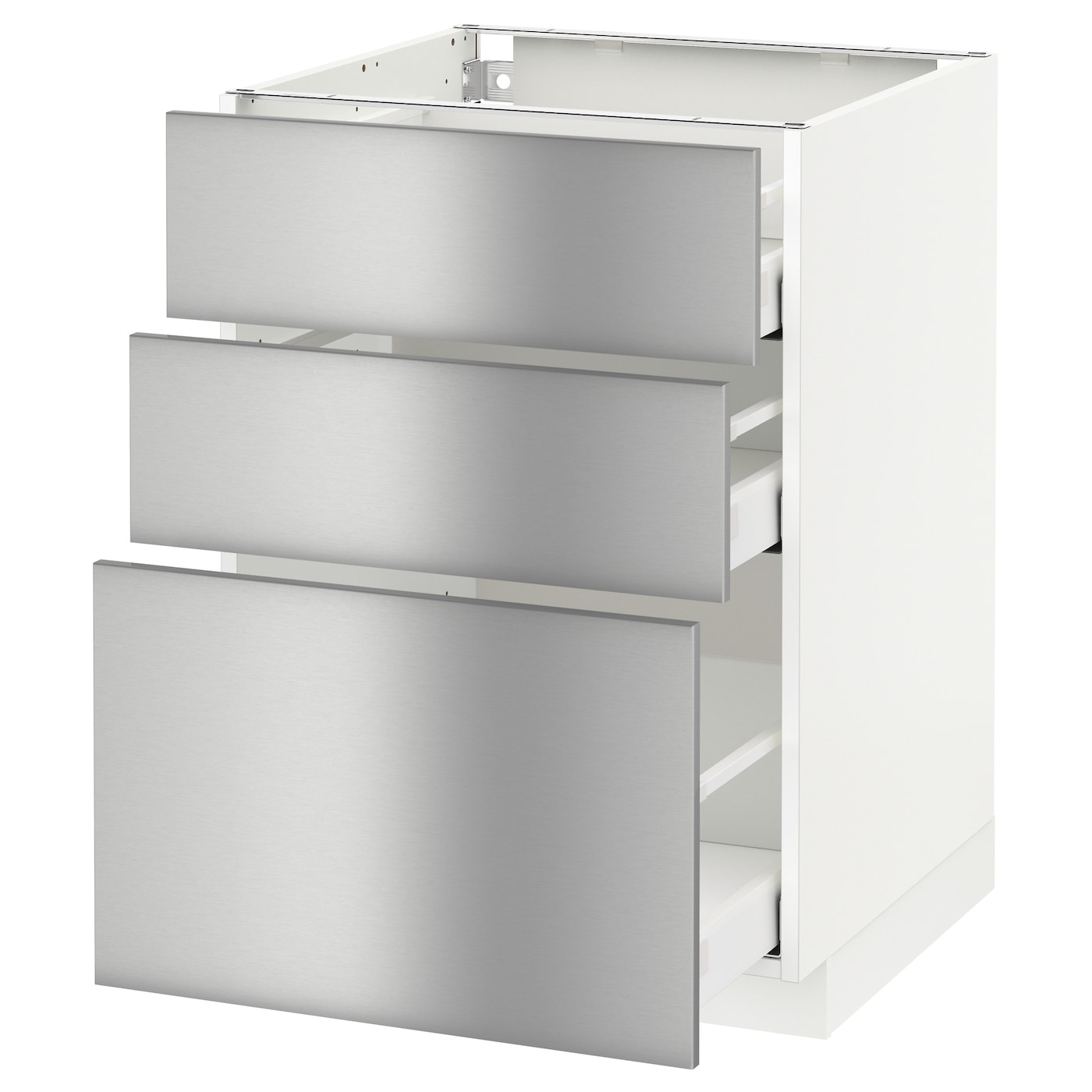 Metod maximera base cabinet with 3 drawers white grevsta for Kitchen cabinets with drawers