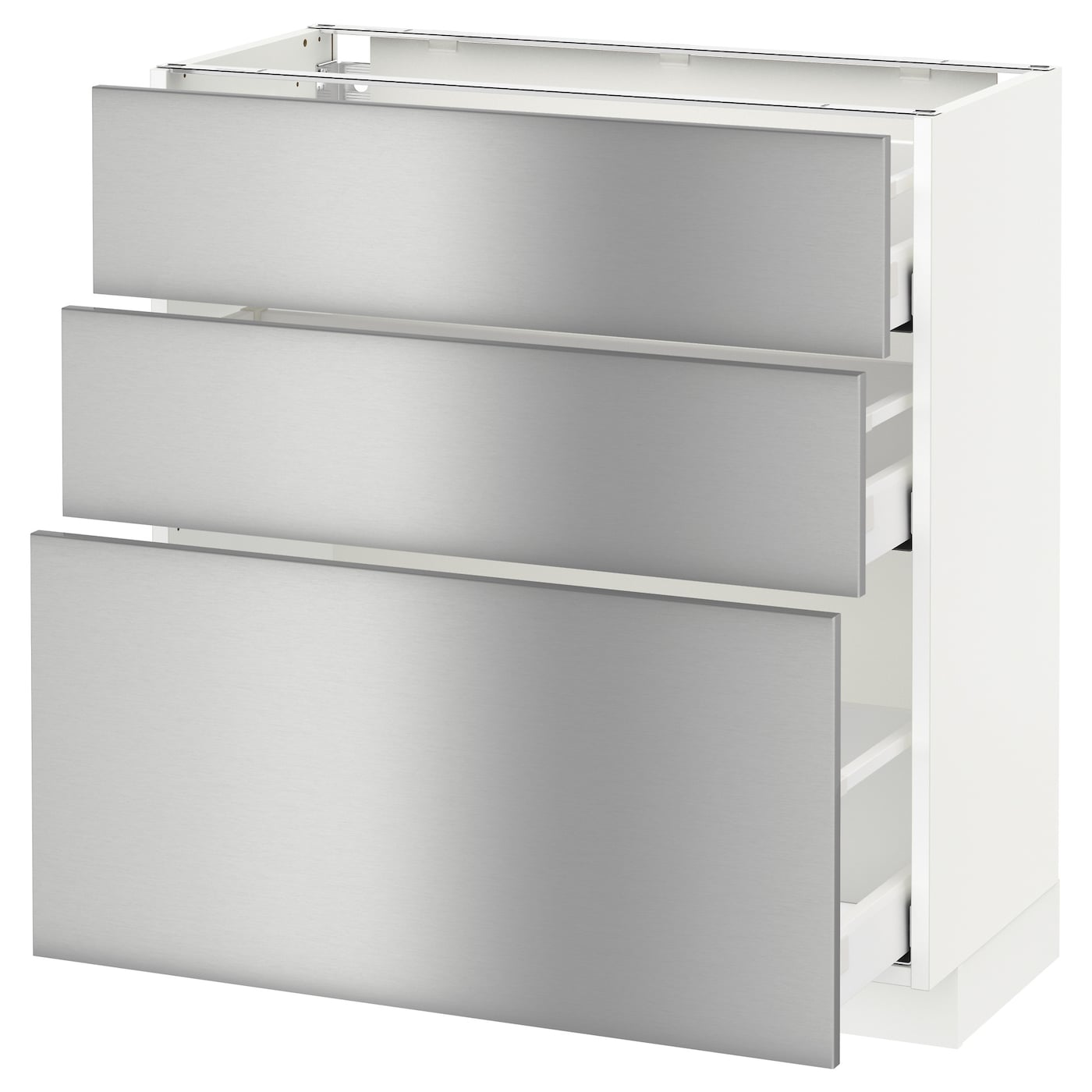 Metod maximera base cabinet with 3 drawers white grevsta for Steel kitchen cabinets