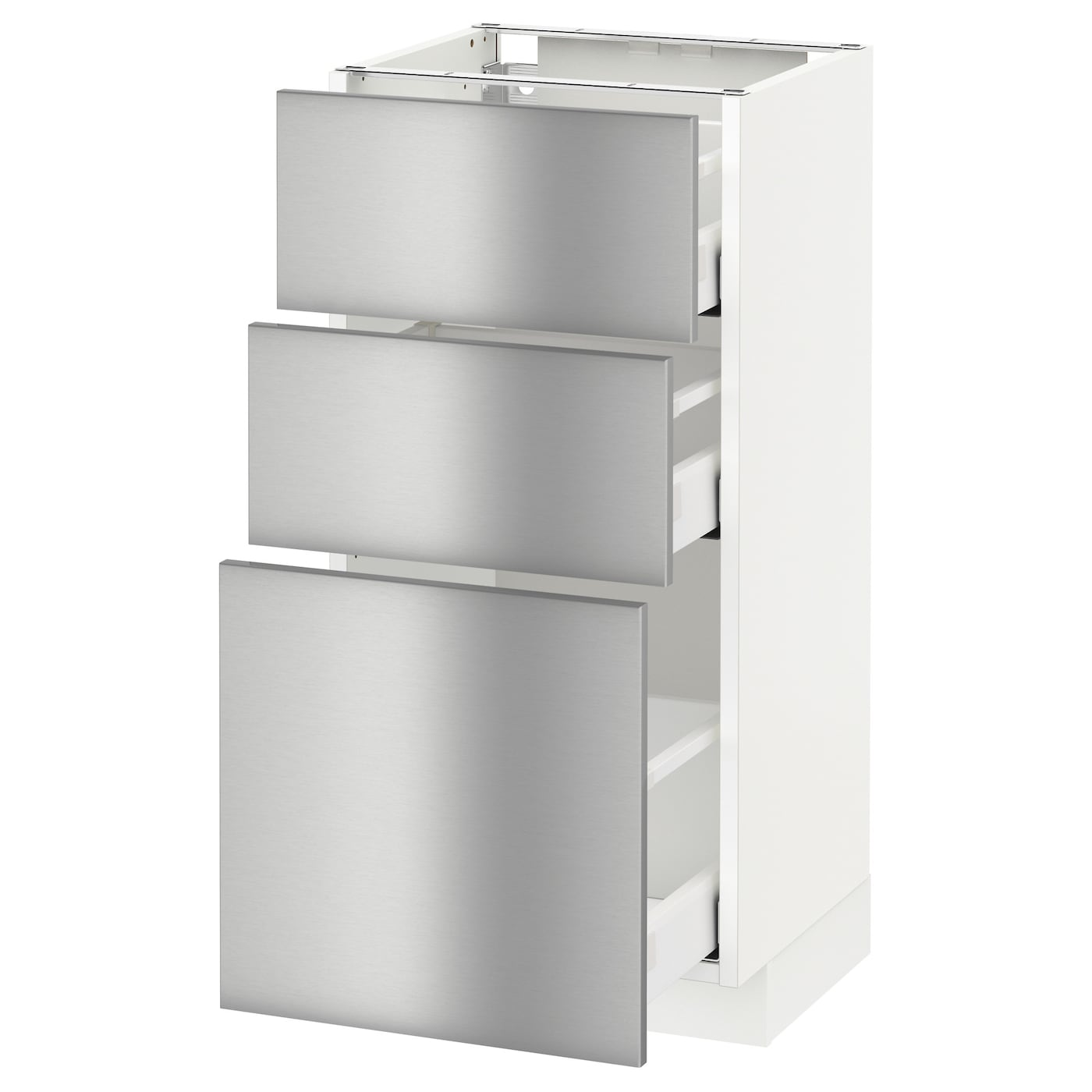 Metod maximera base cabinet with 3 drawers white grevsta for Stainless steel drawers kitchen