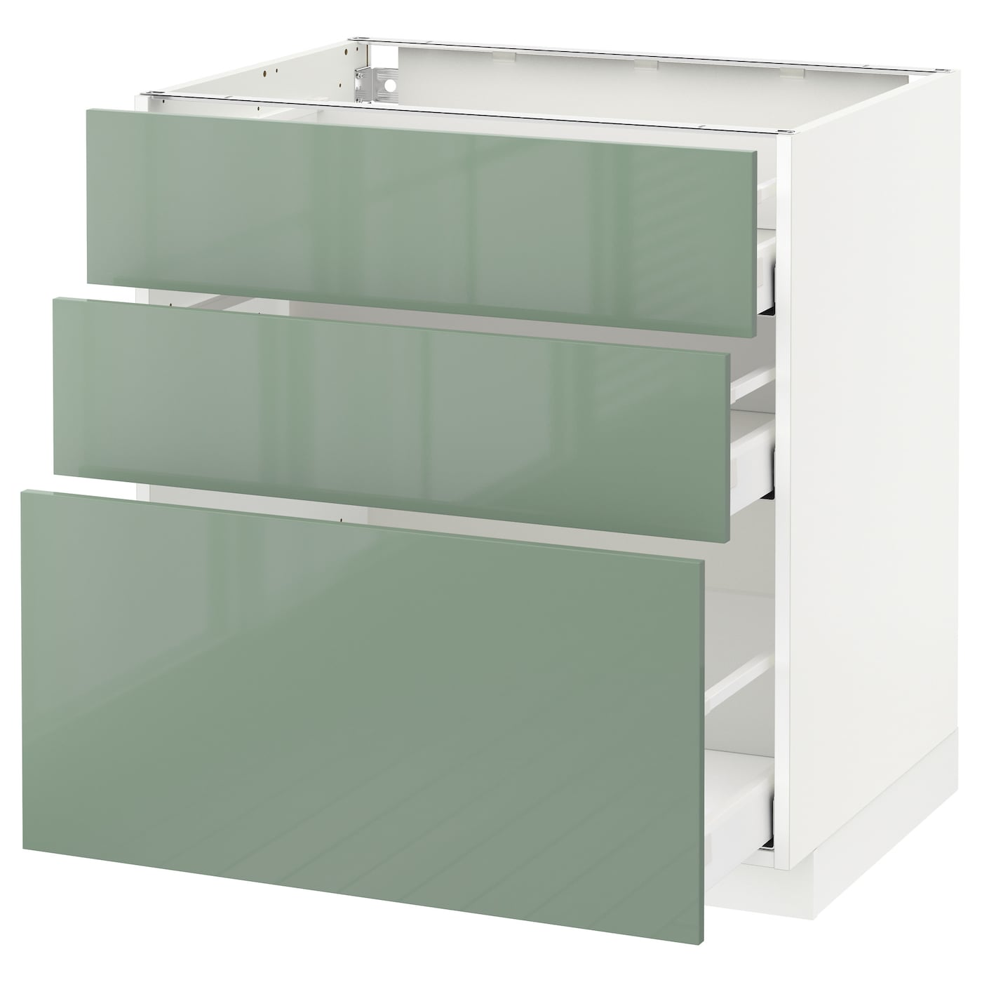 Metod maximera base cabinet with 3 drawers white kallarp Kitchen cabinets light green
