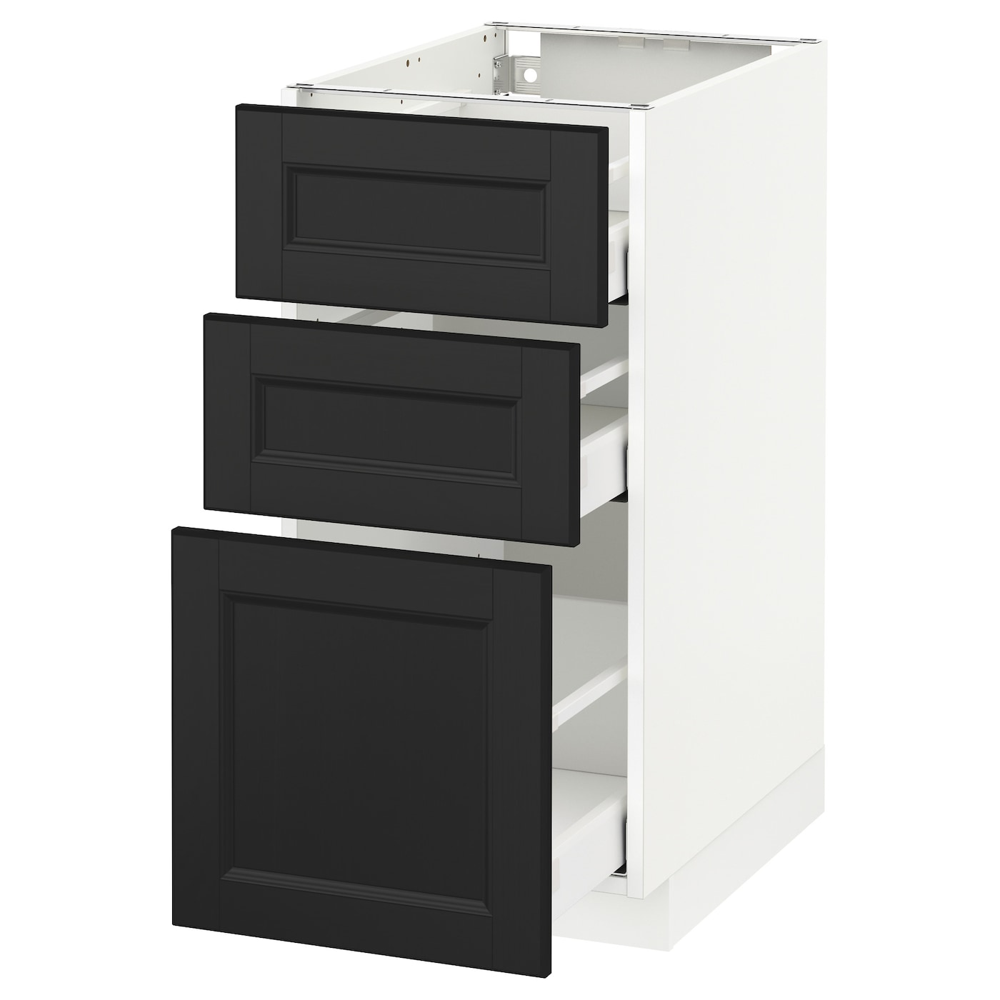 metod maximera base cabinet with 3 drawers white laxarby black brown 40x60 cm ikea. Black Bedroom Furniture Sets. Home Design Ideas