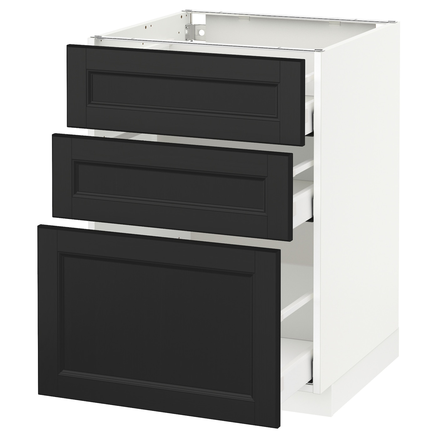 METOD/MAXIMERA Base Cabinet With 3 Drawers White/laxarby Black-brown 60x60 Cm
