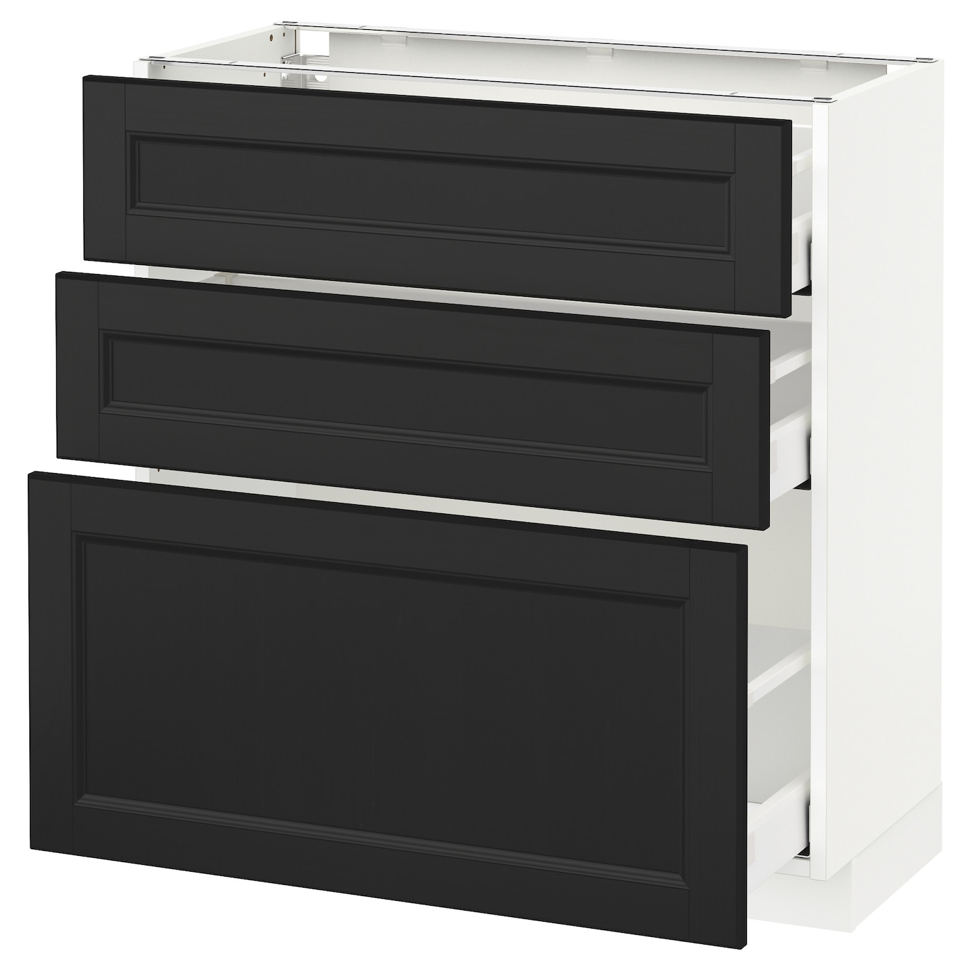 METOD/MAXIMERA Base Cabinet With 3 Drawers White/laxarby Black-brown 80x37 Cm