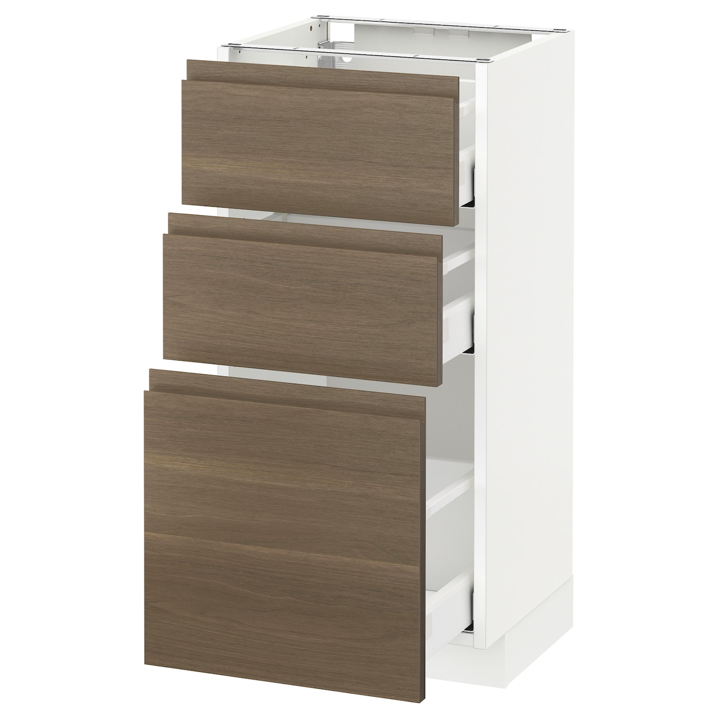 Metod Maximera Base Cabinet With 3 Drawers White Voxtorp