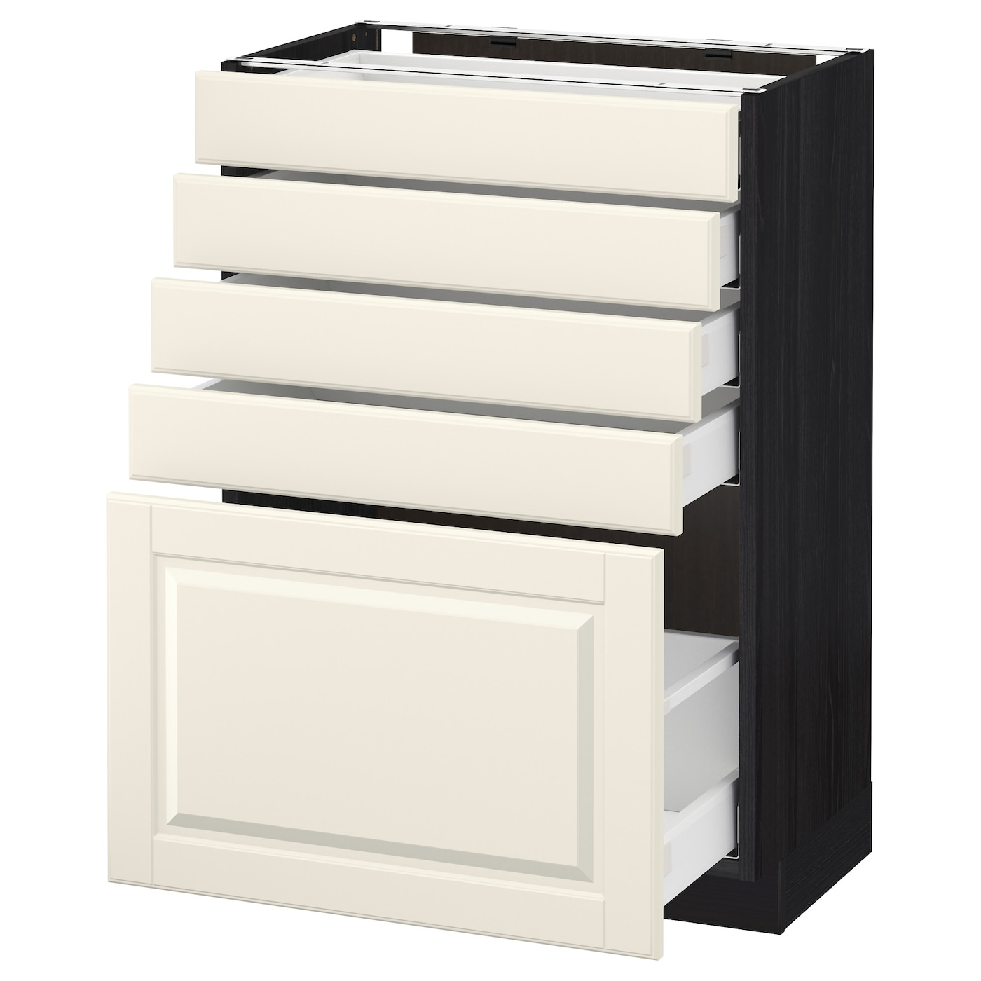 metod maximera base cabinet with 5 drawers black bodbyn off white 60 x 37 cm ikea. Black Bedroom Furniture Sets. Home Design Ideas