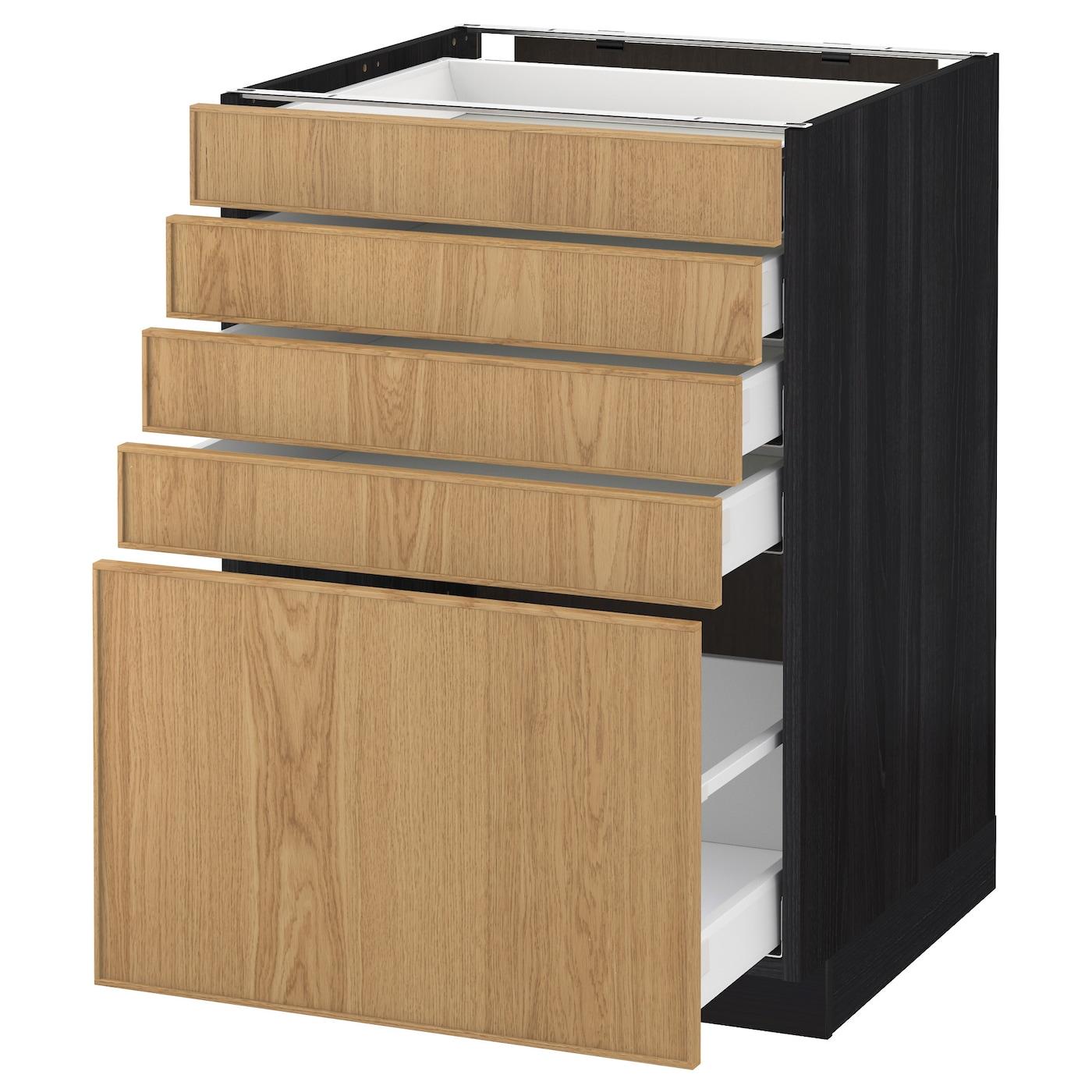 metod maximera base cabinet with 5 drawers black ekestad oak 60 x 60 cm ikea. Black Bedroom Furniture Sets. Home Design Ideas