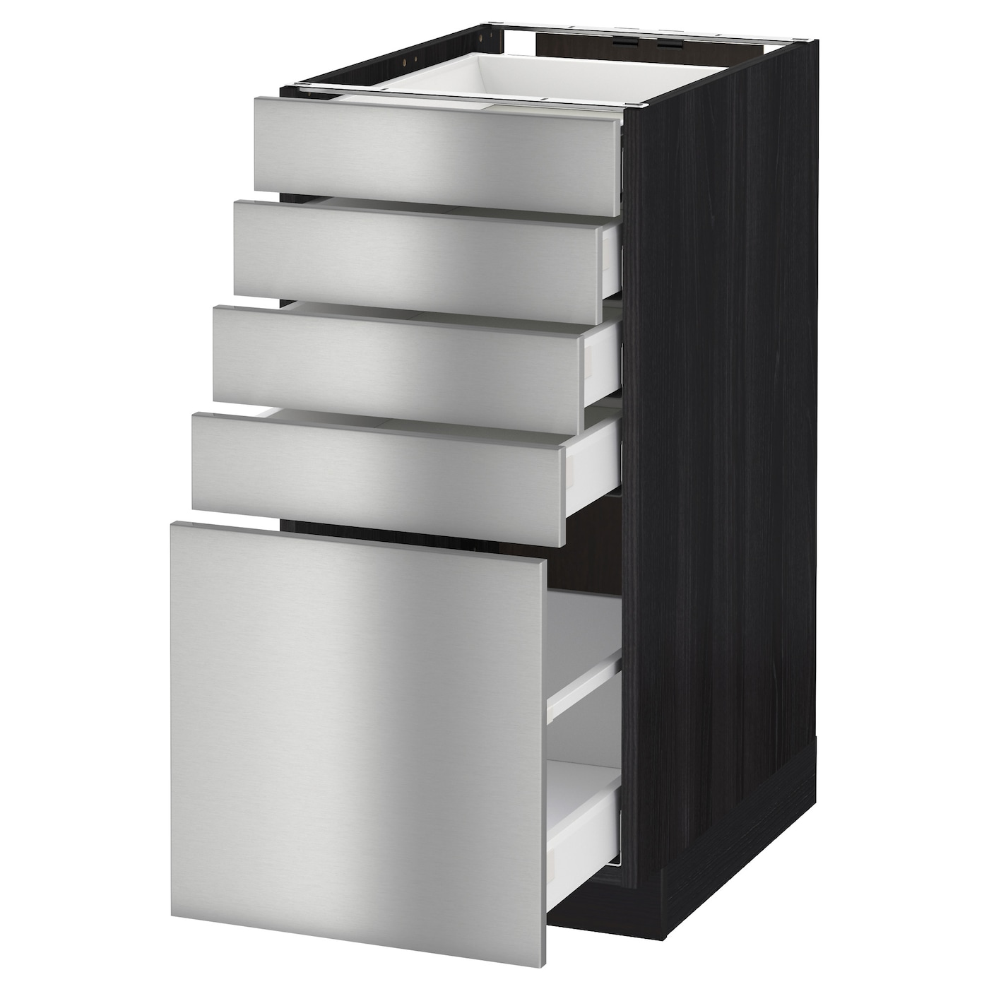 Metod maximera base cabinet with 5 drawers black grevsta for Stainless steel kitchen base cabinets