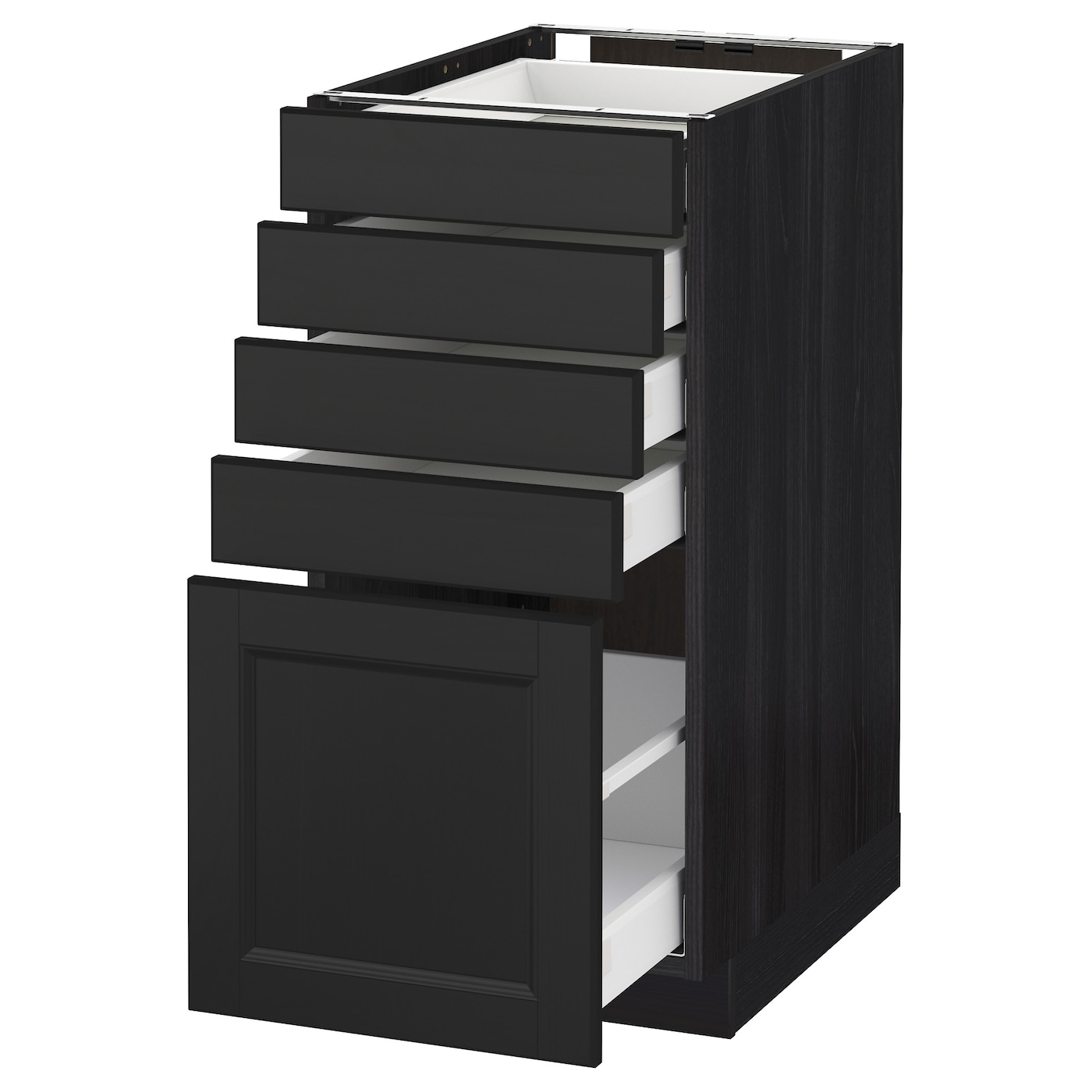 metod maximera base cabinet with 5 drawers black laxarby black brown 40x60 cm ikea. Black Bedroom Furniture Sets. Home Design Ideas