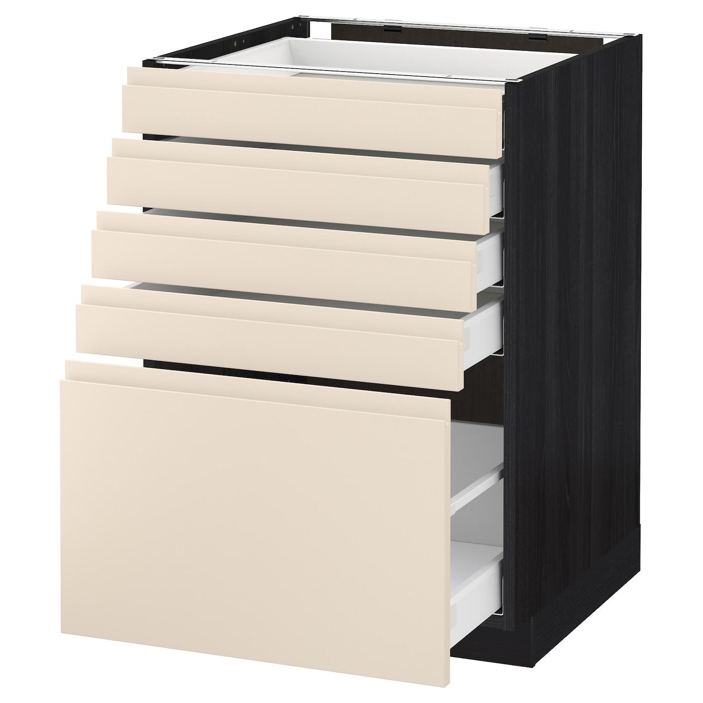 metod maximera base cabinet with 5 drawers black voxtorp light beige 60x60 cm ikea. Black Bedroom Furniture Sets. Home Design Ideas