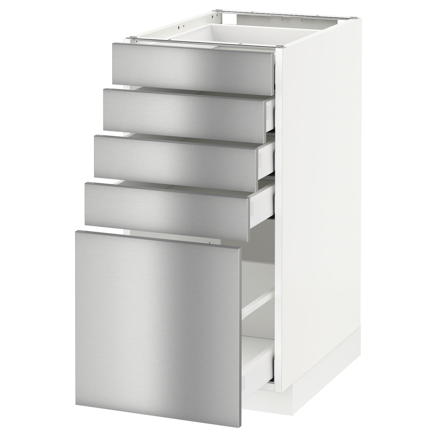 Metod maximera base cabinet with 5 drawers white grevsta for Stainless steel kitchen cabinet price