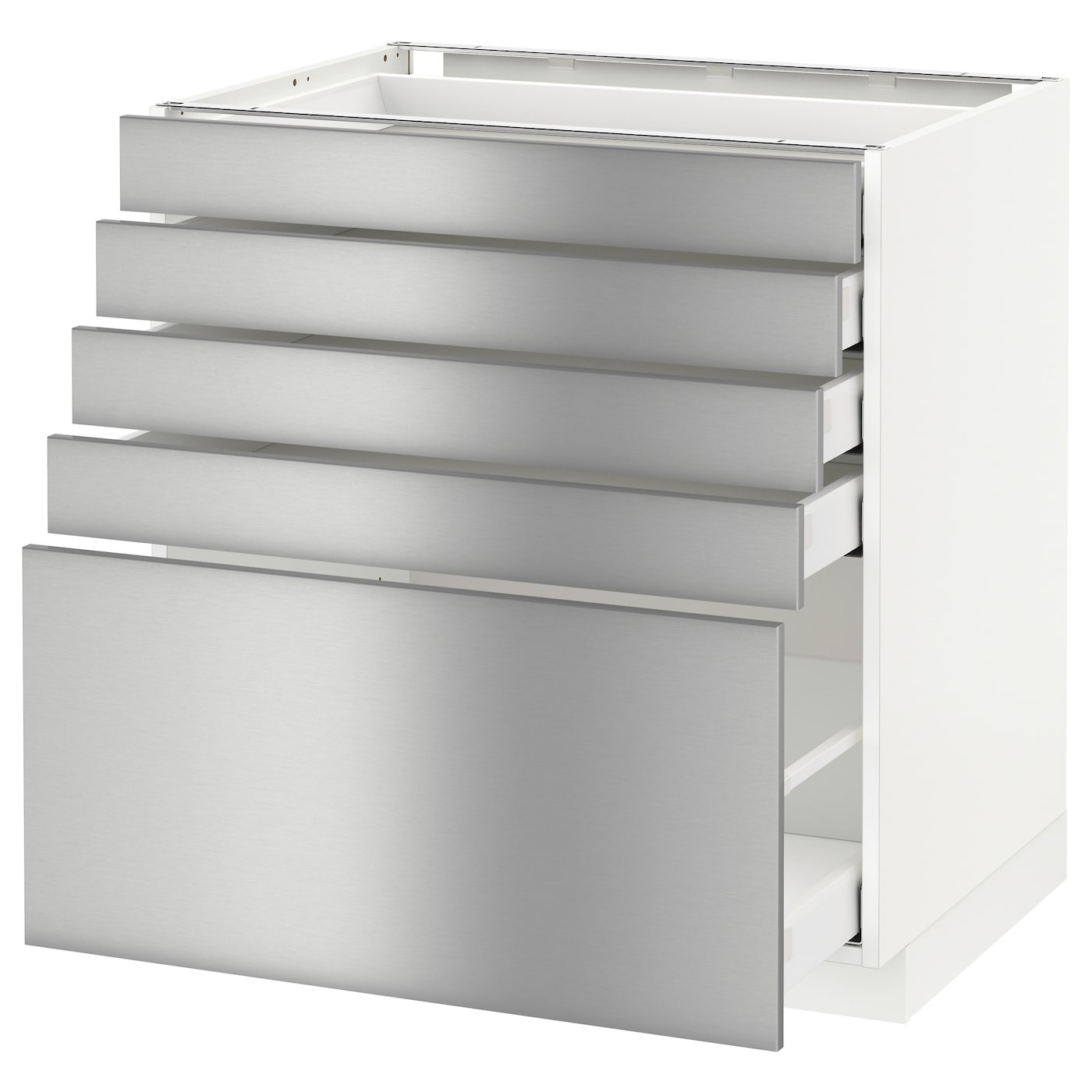Metod maximera base cabinet with 5 drawers white grevsta for Stainless steel drawers kitchen