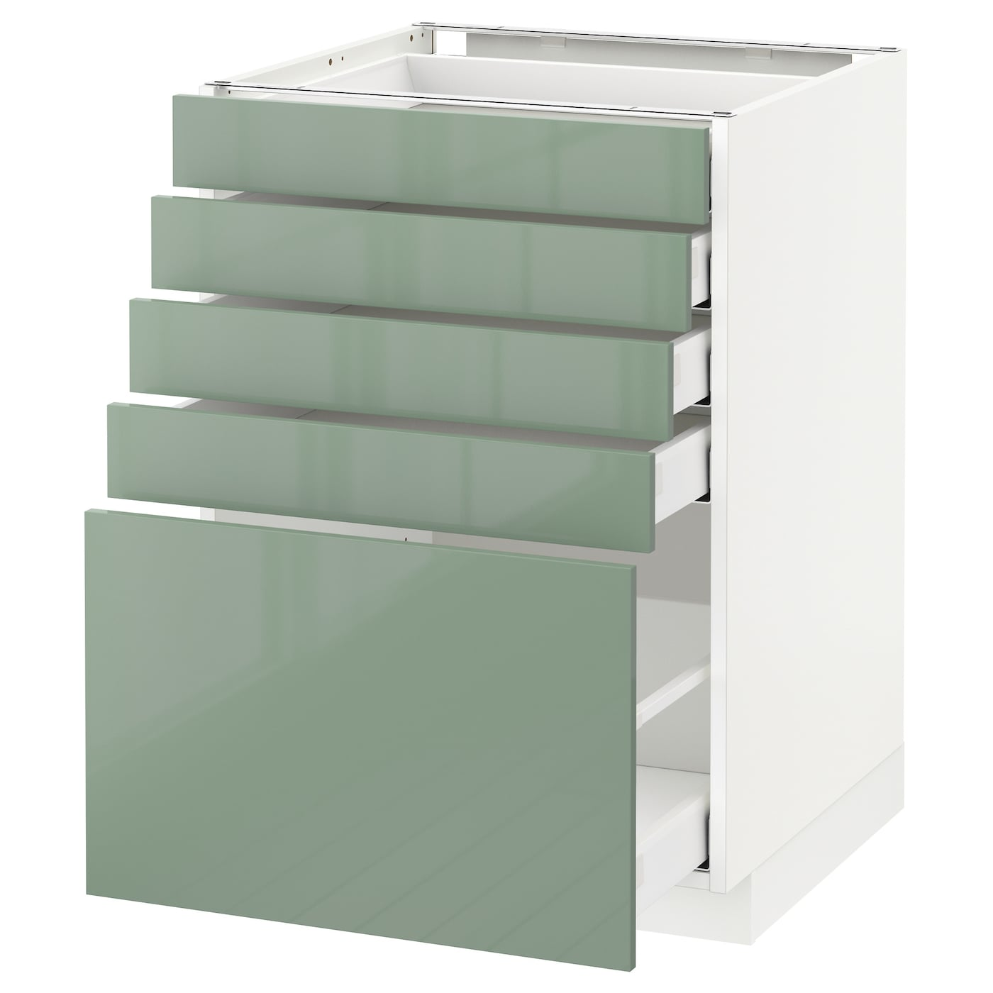 Metod maximera base cabinet with 5 drawers white kallarp Kitchen cabinets light green
