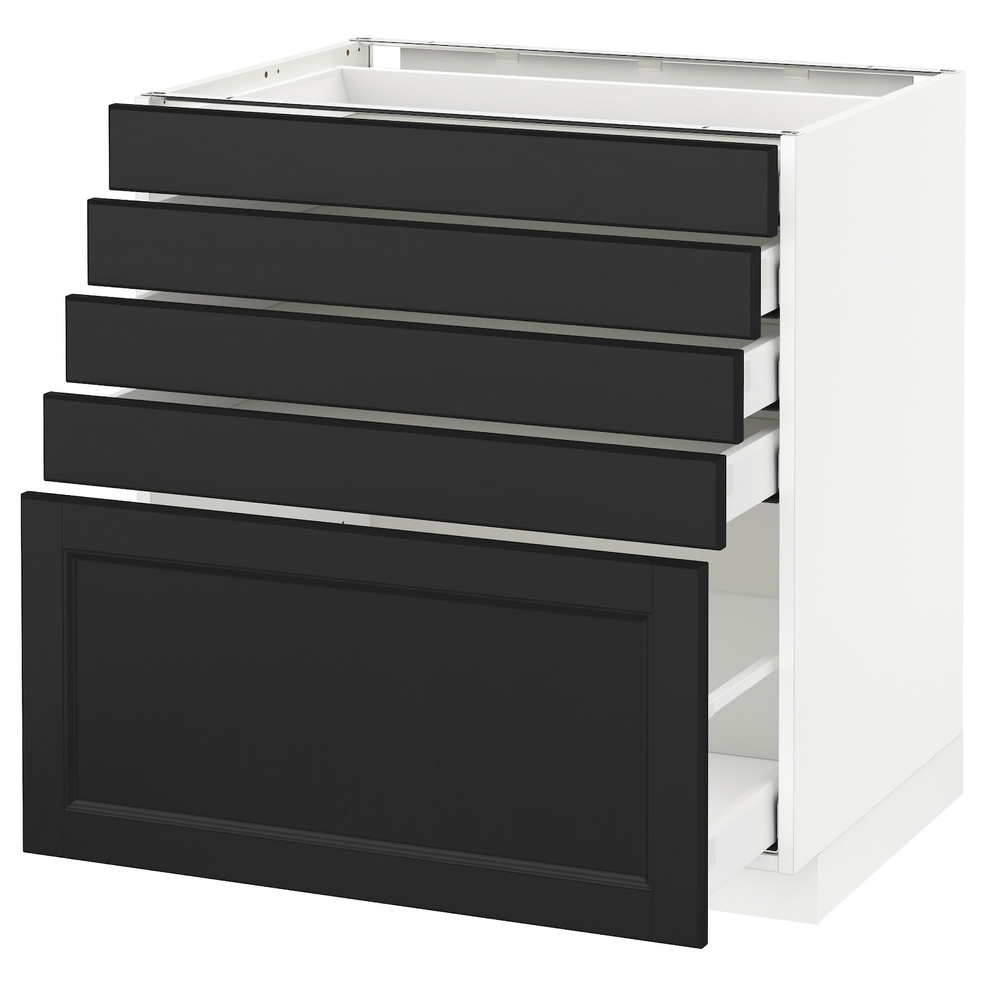 Metod Maximera Base Cabinet With 5 Drawers White Laxarby Black Brown 80x60 Cm Ikea