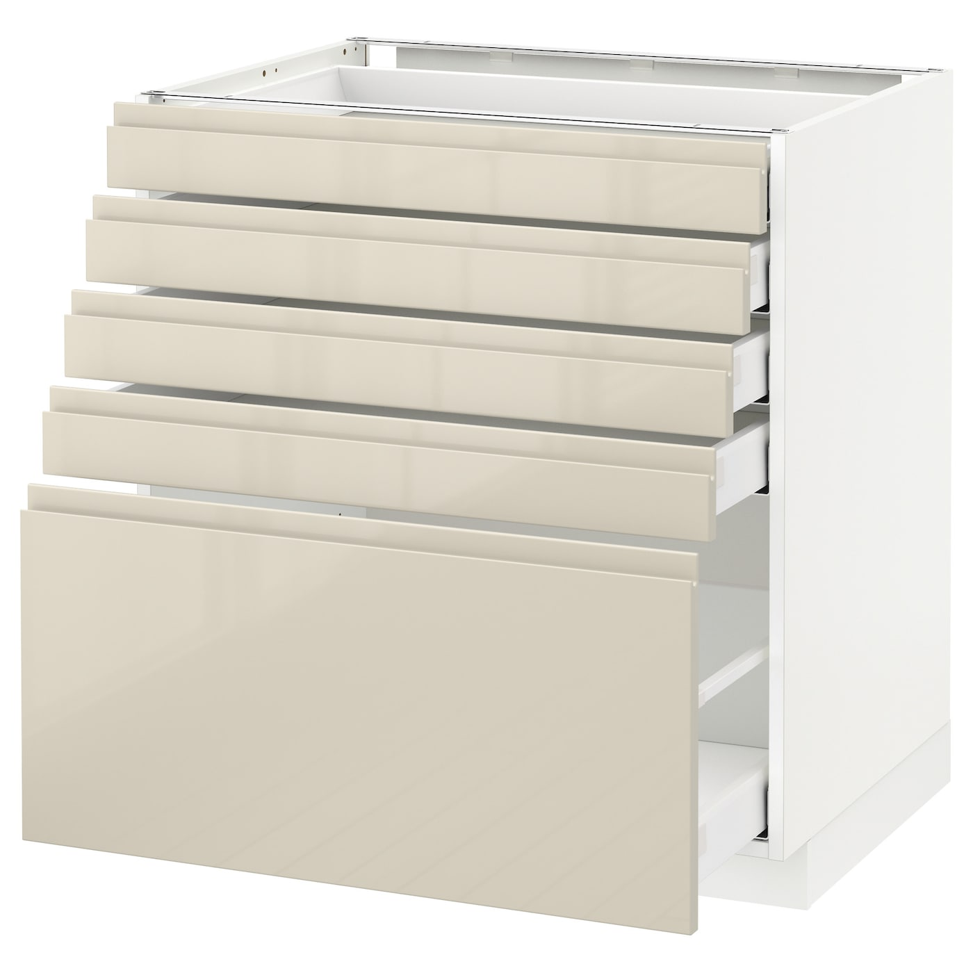 Metod maximera base cabinet with 5 drawers white voxtorp for White gloss kitchen base units