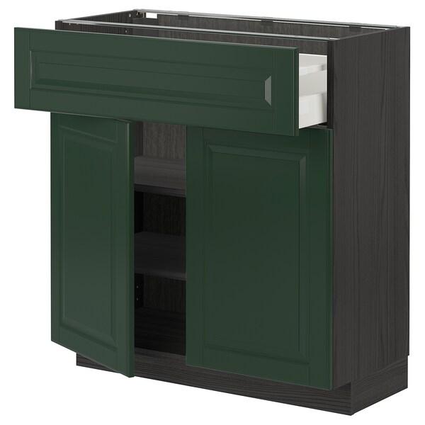 METOD / MAXIMERA Base cabinet with drawer/2 doors, black/Bodbyn dark green, 80x37 cm