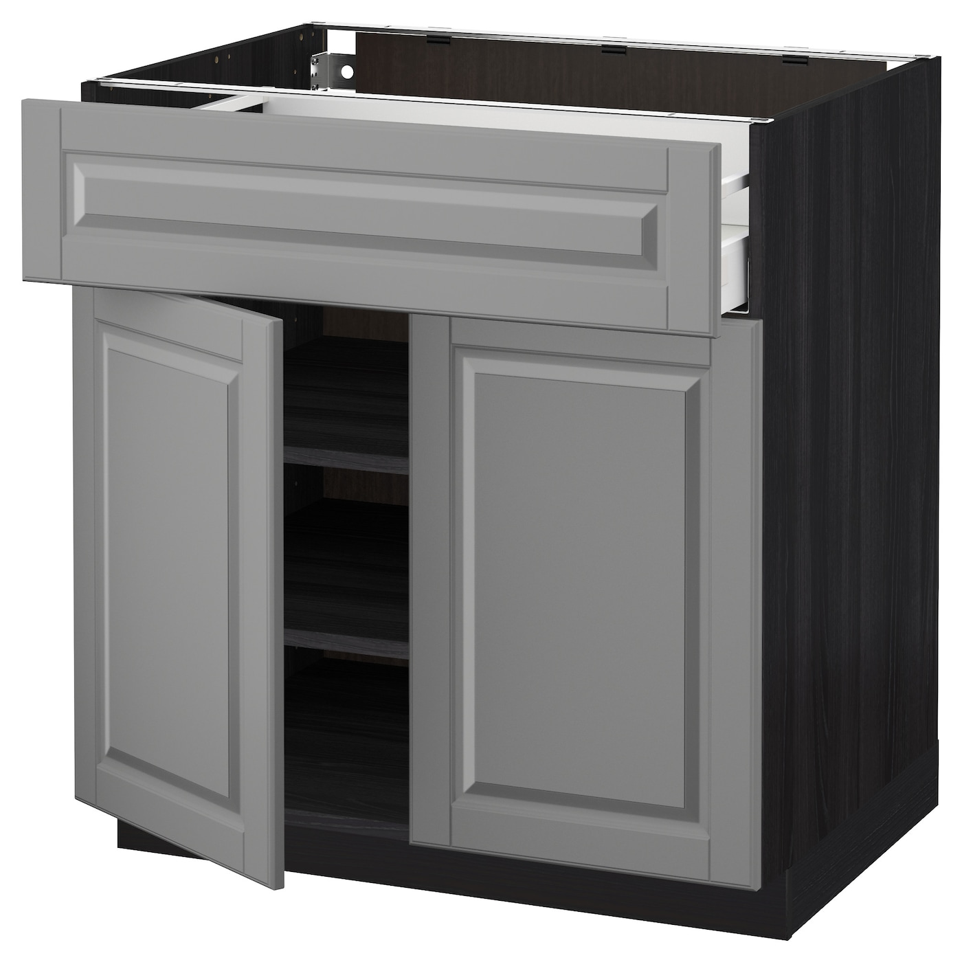 Metod Maximera Base Cabinet With Drawer 2 Doors Black Bodbyn Grey 80x60 Cm Ikea