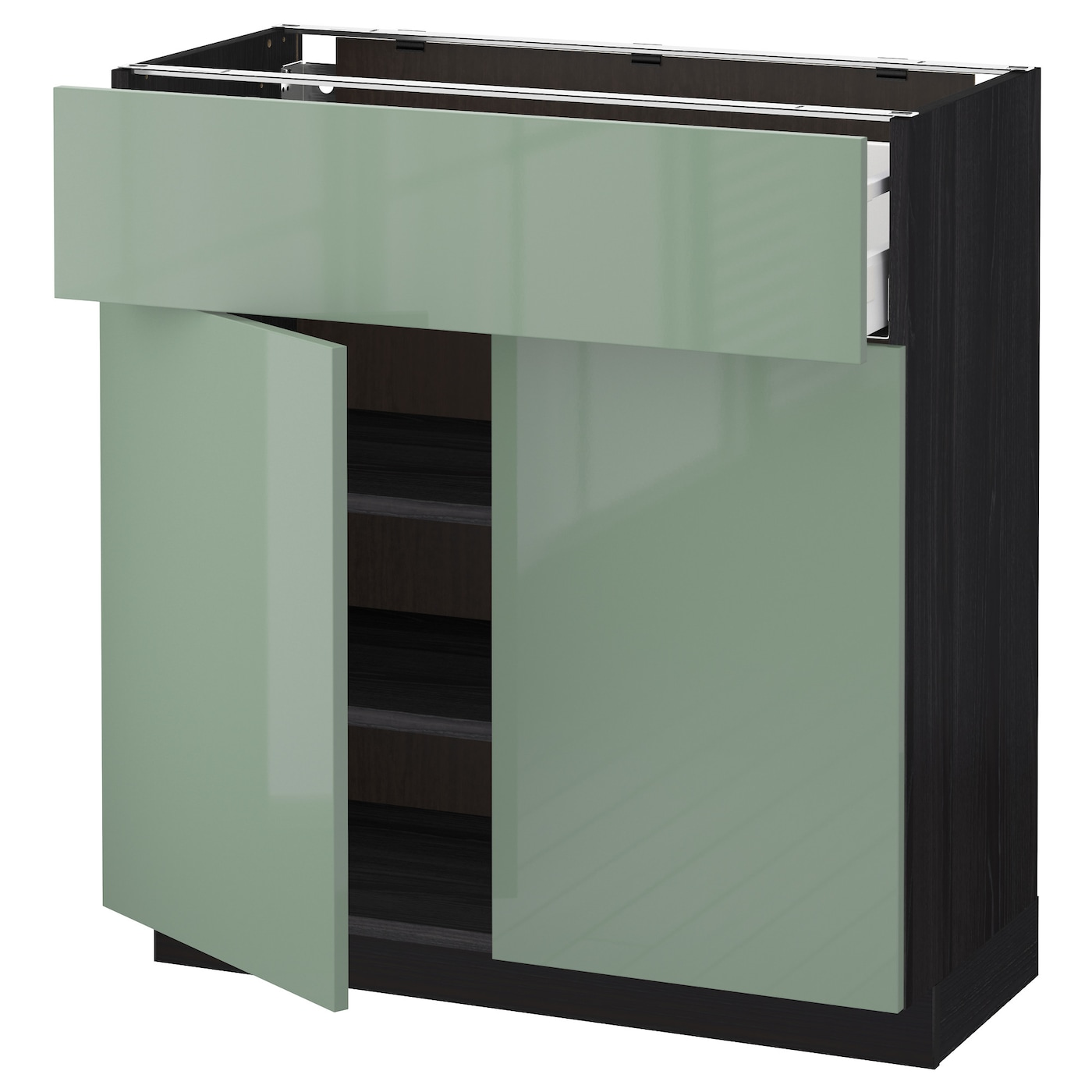 Ikea Kitchen Black Cabinets: METOD/MAXIMERA Base Cabinet With Drawer/2 Doors Black/kallarp Light Green 80x37 Cm
