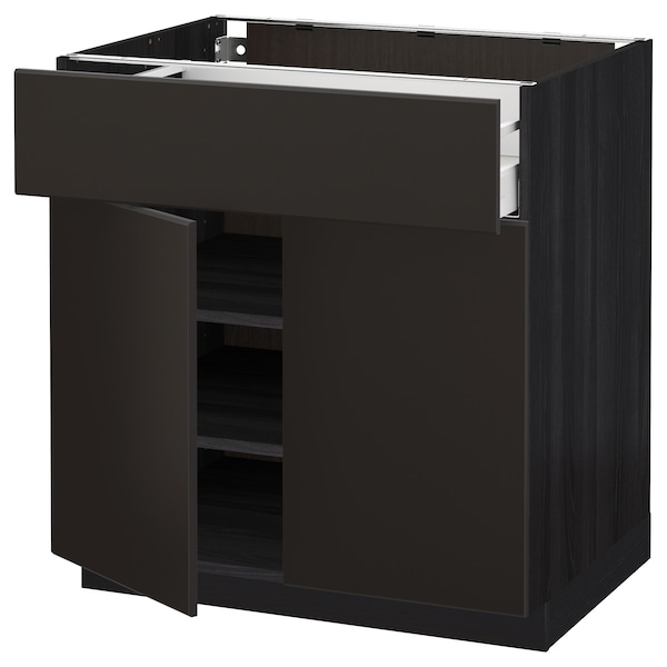 METOD / MAXIMERA Base cabinet with drawer/2 doors, black/Kungsbacka anthracite, 80x60 cm