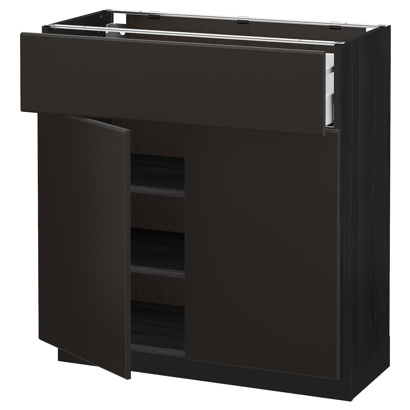 Black Kitchen Cabinet Doors: METOD/MAXIMERA Base Cabinet With Drawer/2 Doors Black