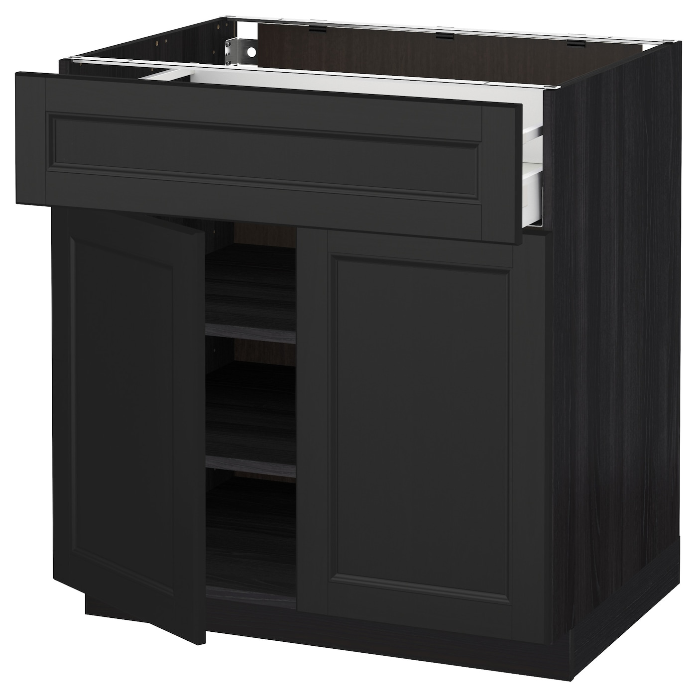 metod maximera base cabinet with drawer 2 doors black laxarby black brown 80x60 cm ikea. Black Bedroom Furniture Sets. Home Design Ideas