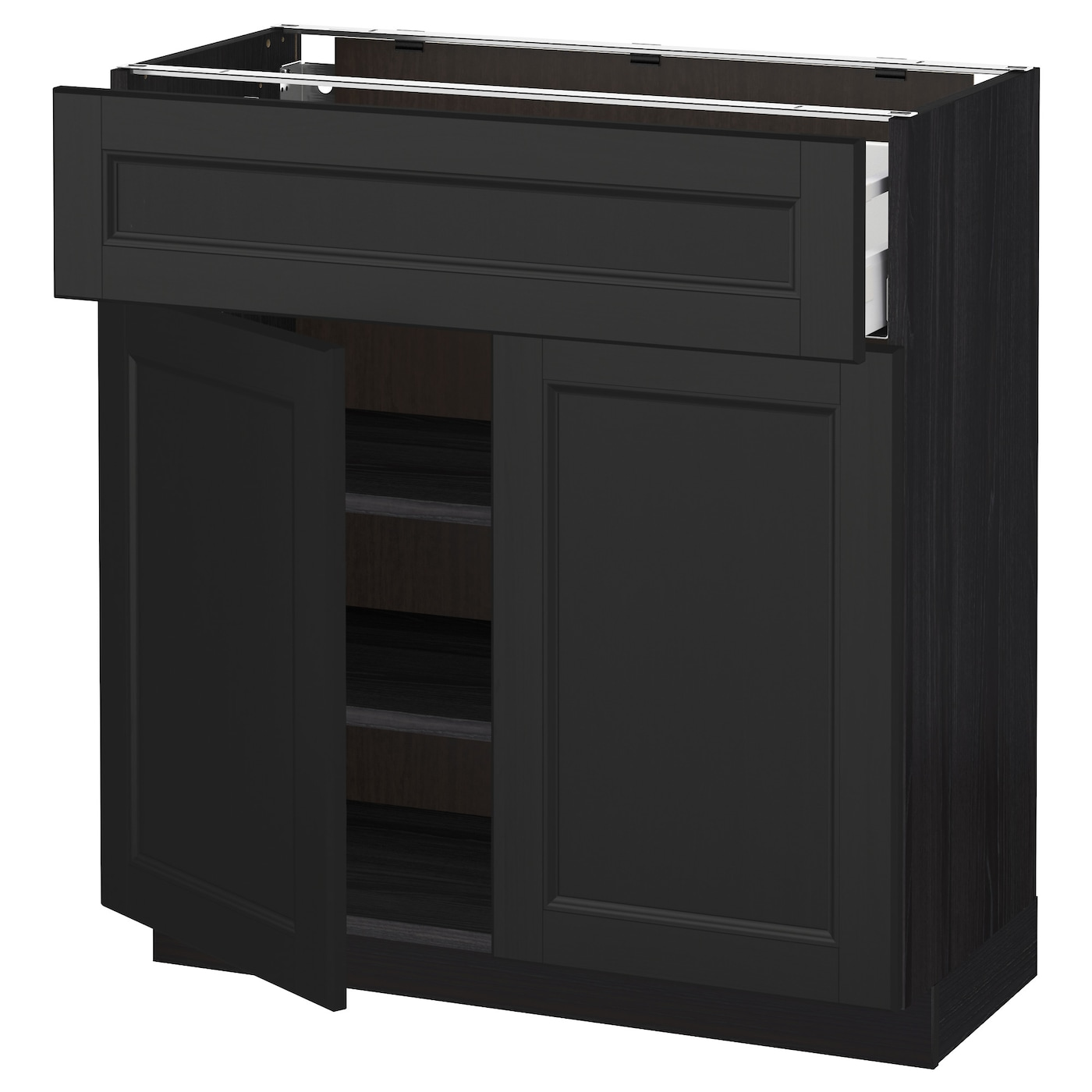 black base kitchen cabinets metod maximera base cabinet with drawer 2 doors black 12317