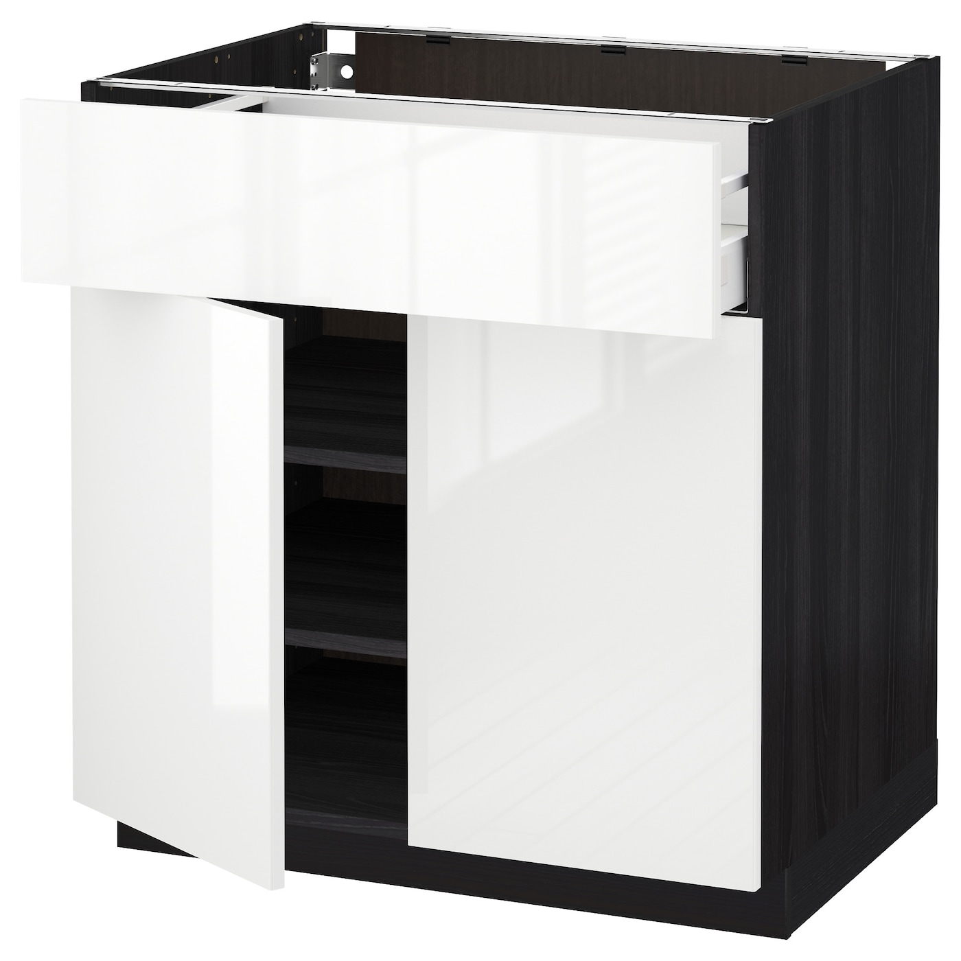 Ringhult Door High Gloss White 60 X 80 Cm: METOD/MAXIMERA Base Cabinet With Drawer/2 Doors Black
