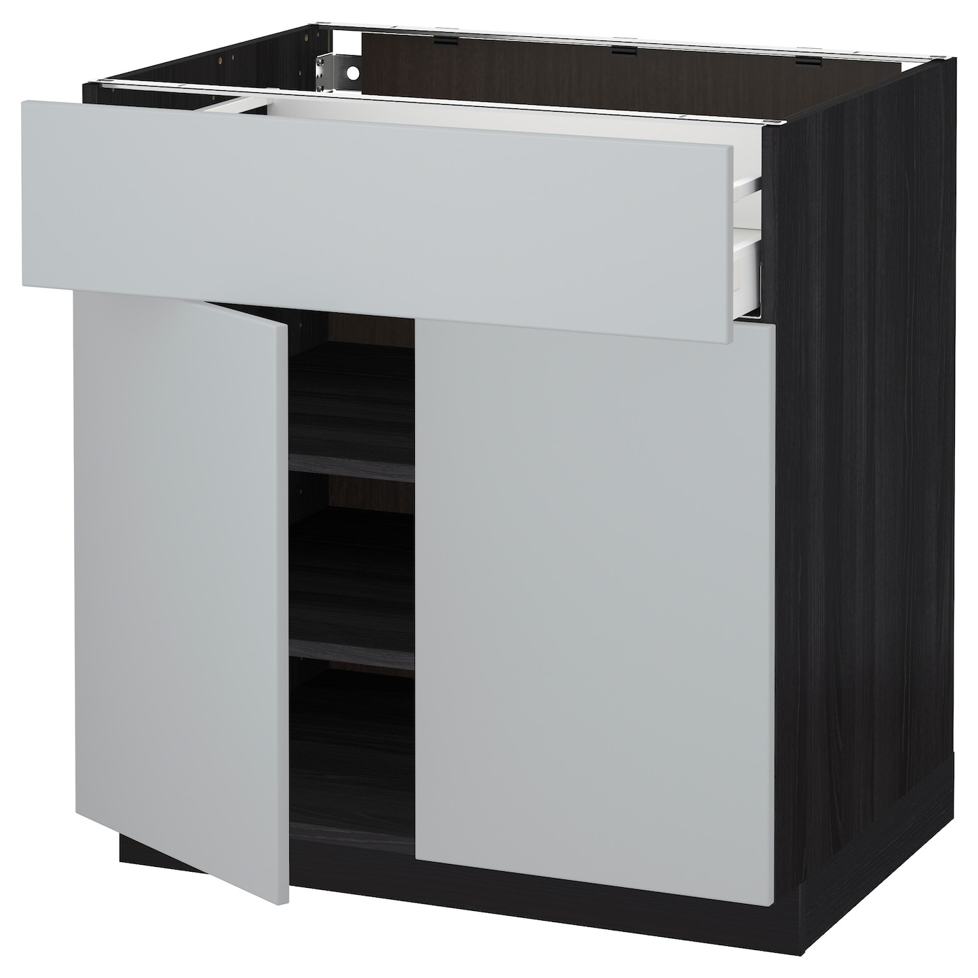 metod maximera base cabinet with drawer 2 doors black veddinge grey 80 x 60 cm ikea. Black Bedroom Furniture Sets. Home Design Ideas