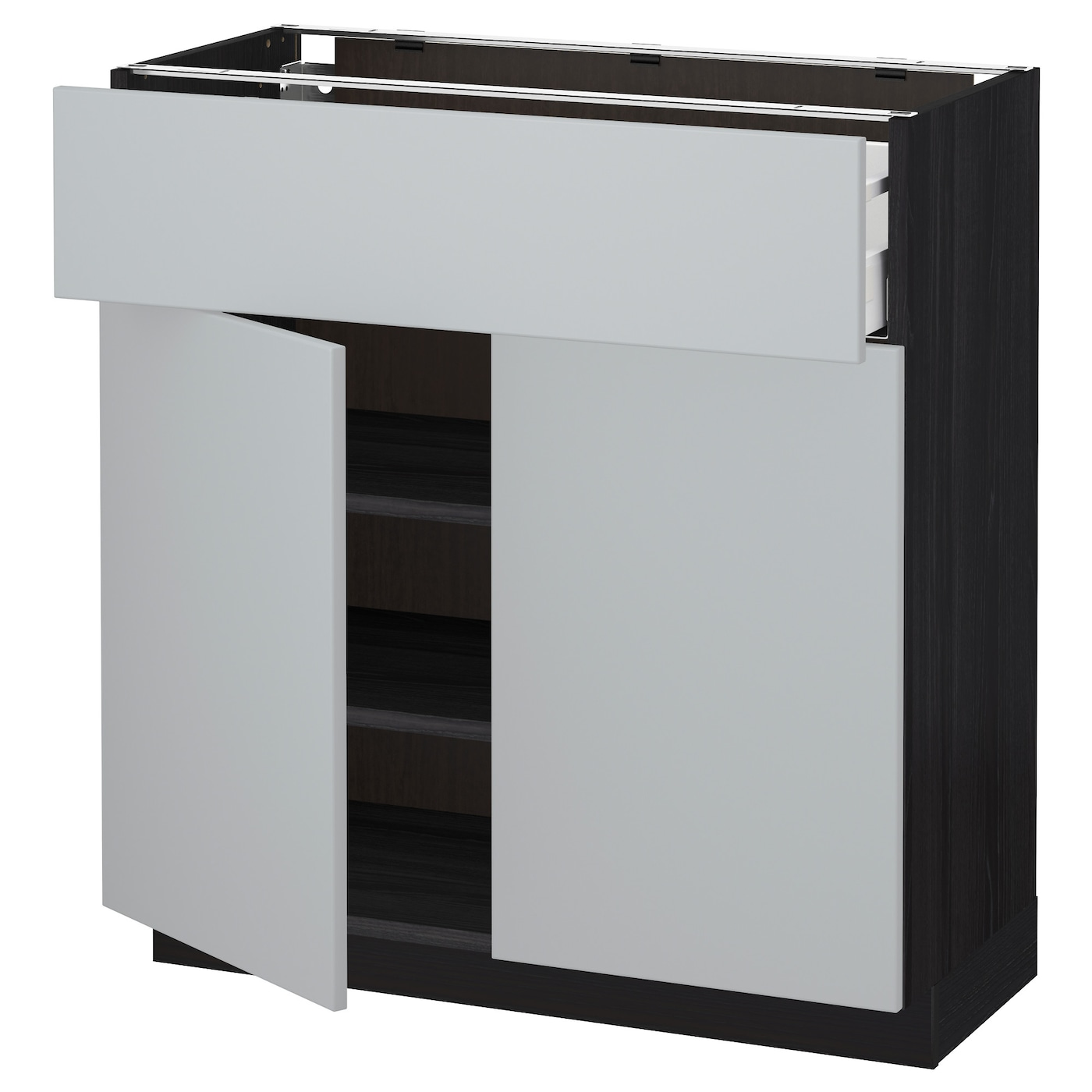 metod maximera base cabinet with drawer 2 doors black veddinge grey 80 x 37 cm ikea. Black Bedroom Furniture Sets. Home Design Ideas