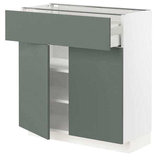 METOD / MAXIMERA Base cabinet with drawer/2 doors, white/Bodarp grey-green, 80x37 cm