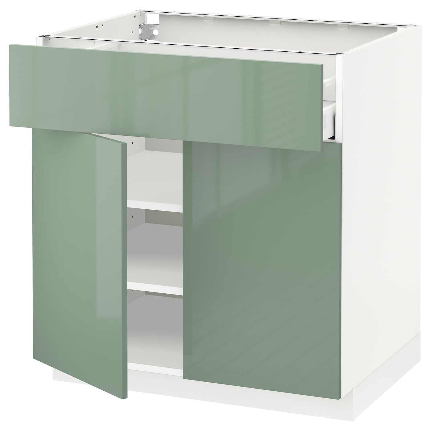 Metod maximera base cabinet with drawer 2 doors white Kitchen cabinets light green