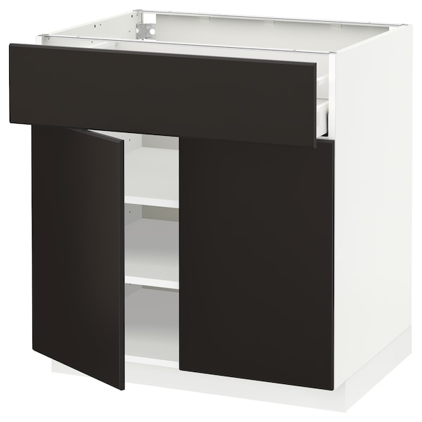 METOD / MAXIMERA Base cabinet with drawer/2 doors, white/Kungsbacka anthracite, 80x60 cm