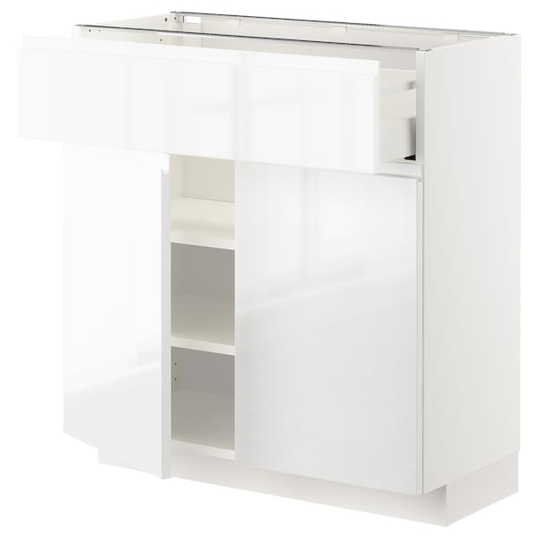 METOD / MAXIMERA Base cabinet with drawer/2 doors, white/Voxtorp high-gloss/white, 80x37 cm