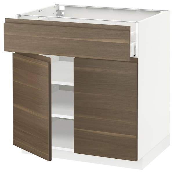 METOD / MAXIMERA Base cabinet with drawer/2 doors, white/Voxtorp walnut effect, 80x60 cm