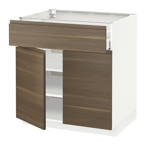 Walnut Mixed Material Ikea Kitchen: METOD/MAXIMERA Base Cabinet With Drawer/2 Doors White