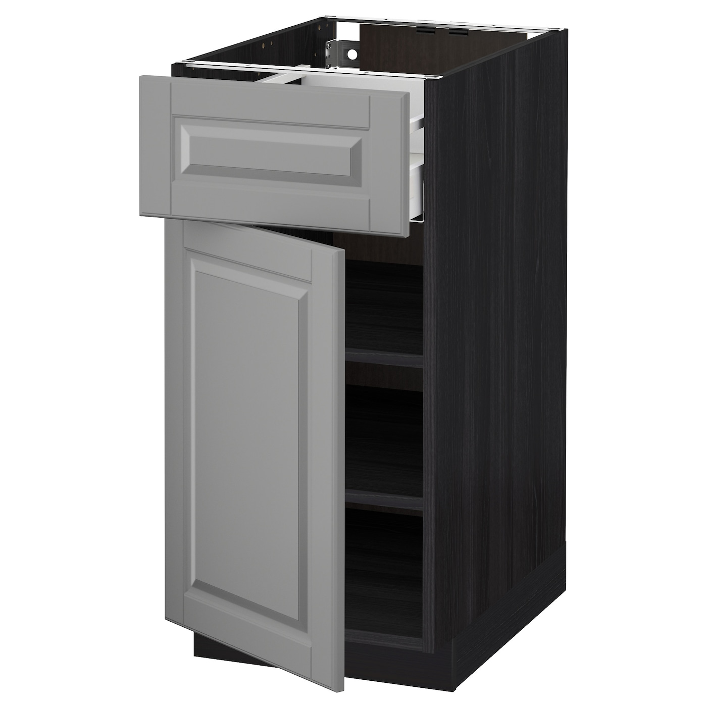 metod maximera base cabinet with drawer door black bodbyn grey 40 x 60 cm ikea. Black Bedroom Furniture Sets. Home Design Ideas