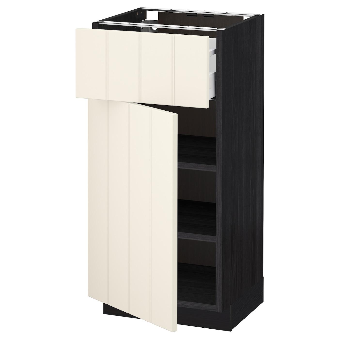 metod maximera base cabinet with drawer door black hittarp off white 40 x 37 cm ikea. Black Bedroom Furniture Sets. Home Design Ideas