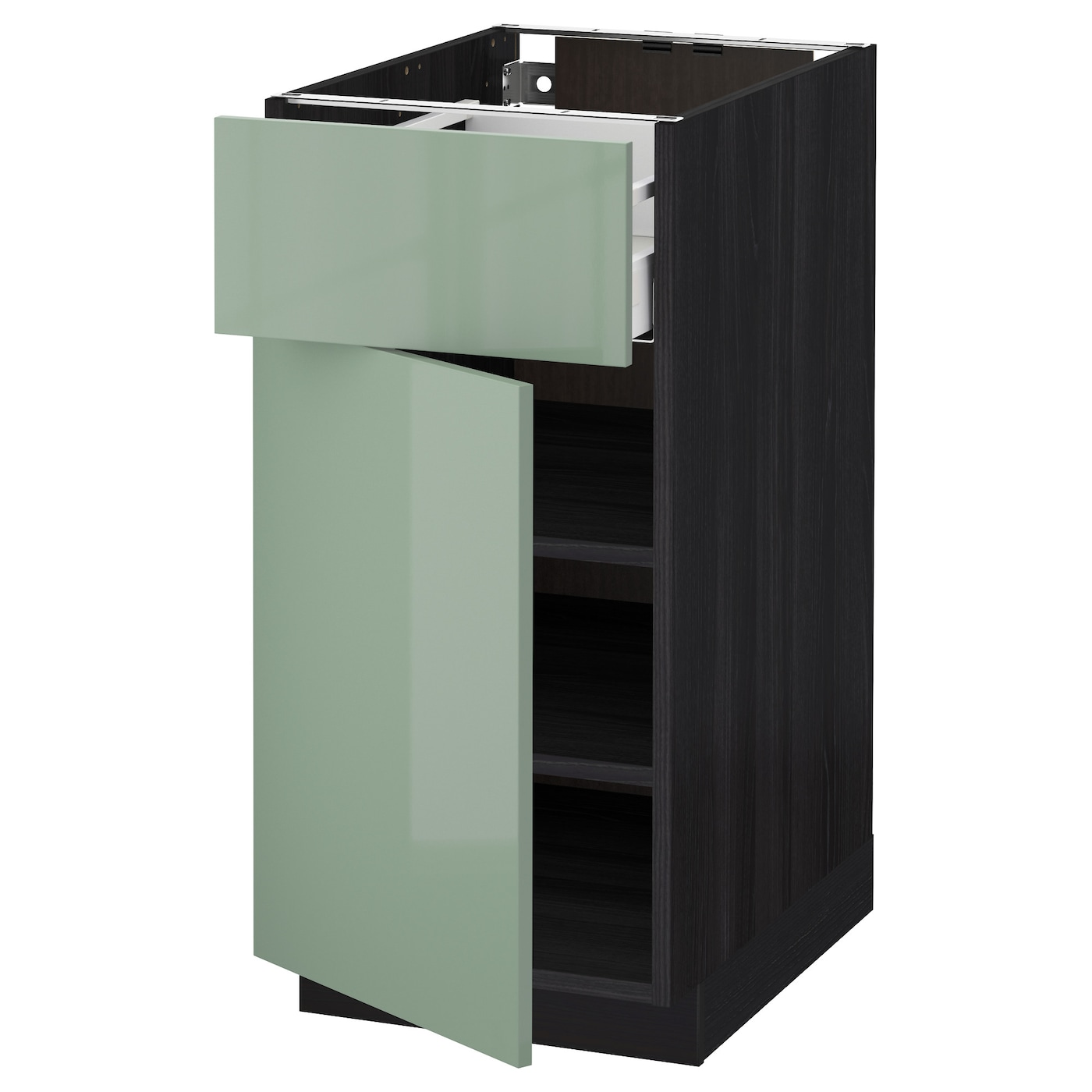 metod maximera base cabinet with drawer door black kallarp light green 40x60 cm ikea. Black Bedroom Furniture Sets. Home Design Ideas